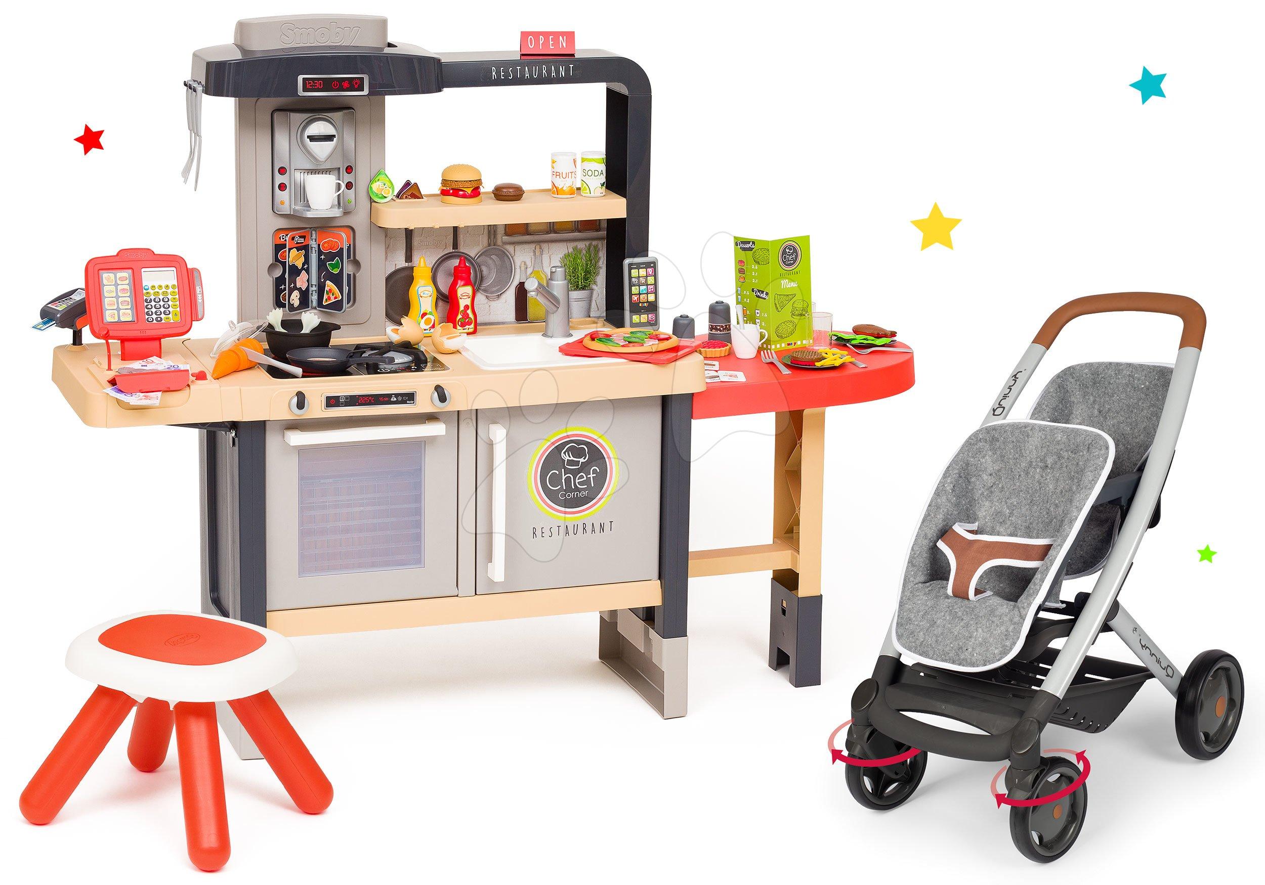 Set reštaurácia s elektronickou kuchynkou Chef Corner Restaurant Smoby s kočíkom pre dve bábiky DeLuxe Maxi Cosi&Quinny Grey