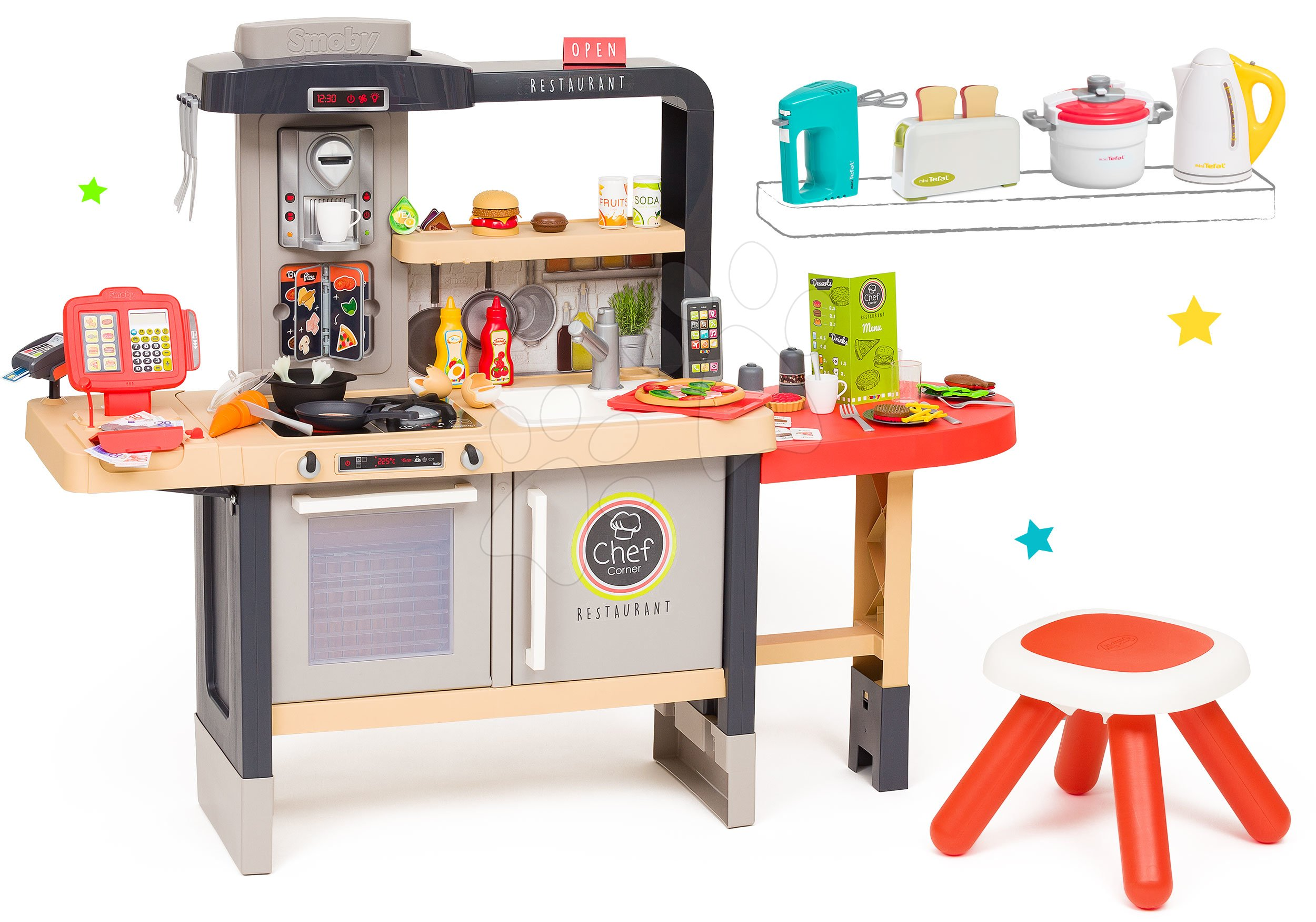 Szett étterem elektronikus konyhácskával Chef Corner Restaurant Smoby és konyhai robotgépek Tefal