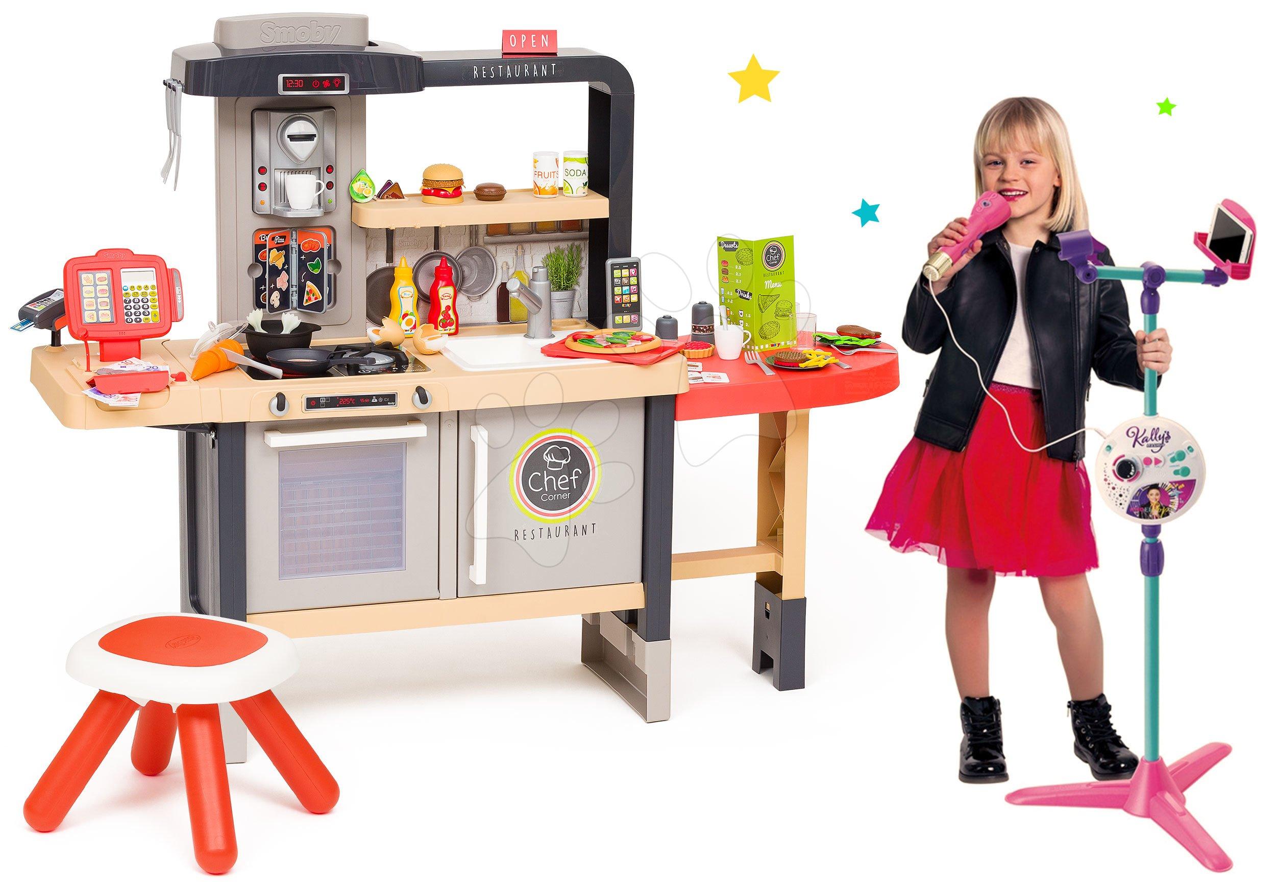 Set reštaurácia s elektronickou kuchynkou Chef Corner Restaurant Smoby a karaoke mikrofón so stojanom 3v1 kompatibilné s audio prehrávačmi