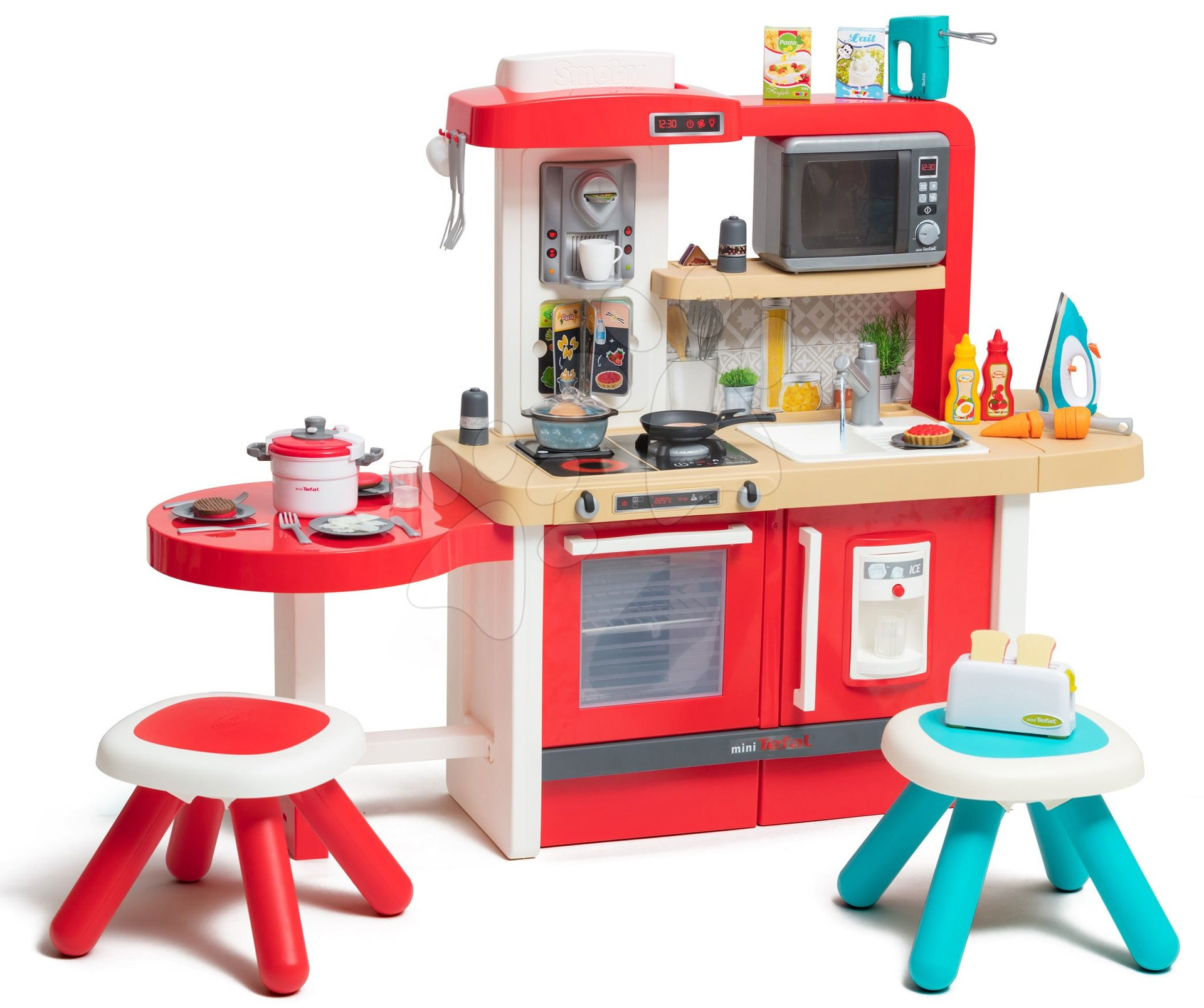 Kuchynka rastúca s tečúcou vodou a mikrovlnkou Tefal Evolutive Gourment Smoby s dvoma stolčekmi a spotrebičmi