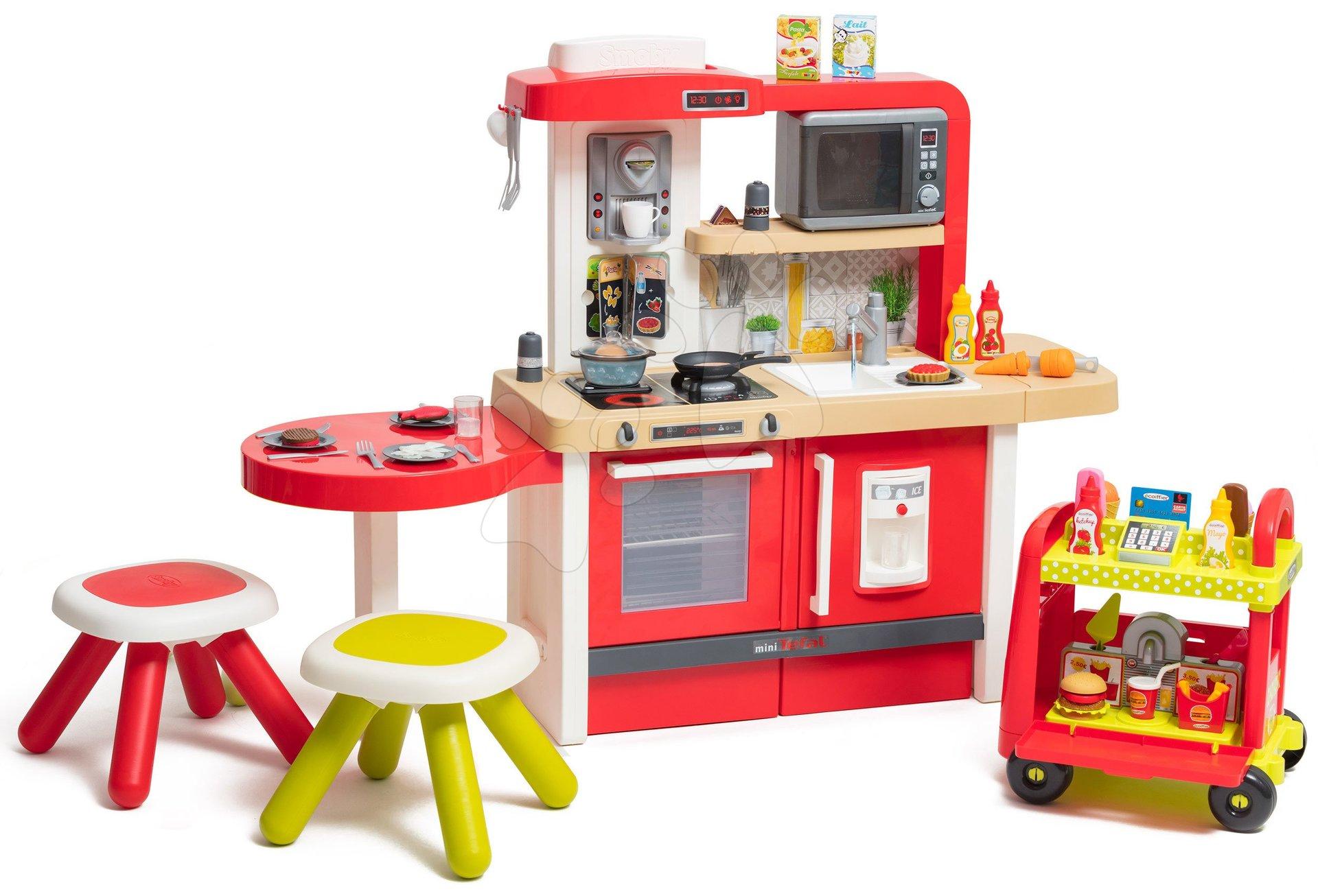 Kuchynka rastúca s tečúcou vodou a mikrovlnkou Tefal Evolutive Gourment Smoby dva stolčeky a vozík s hamburgermi