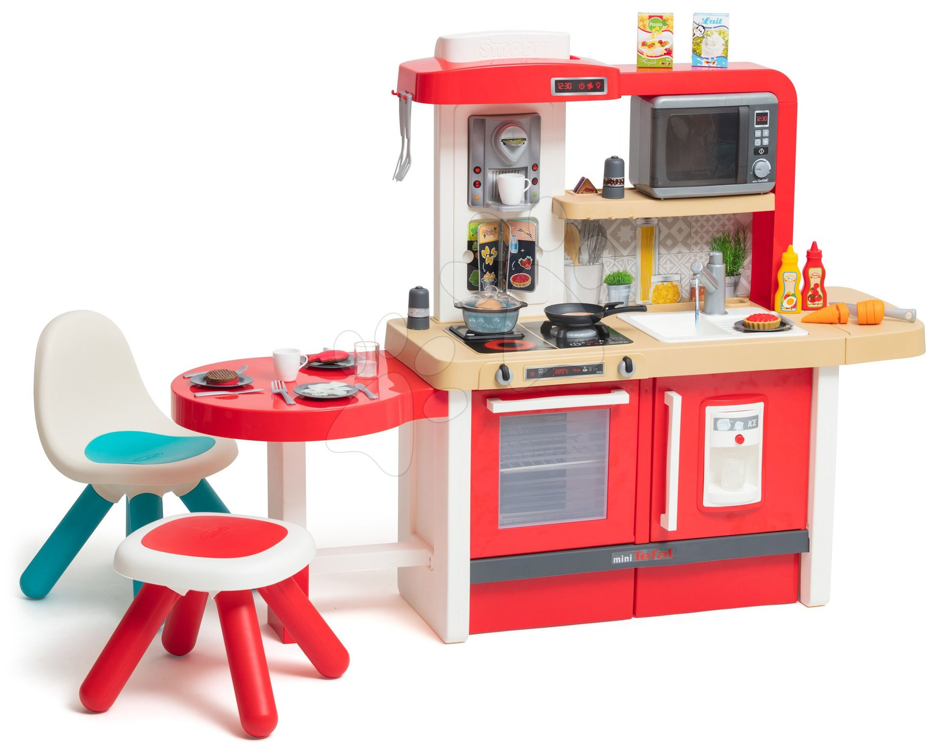 Kuchyňka rostoucí s tekoucí vodou a mikrovlnkou Tefal Evolutive Gourment Smoby se židlí a stolečkem