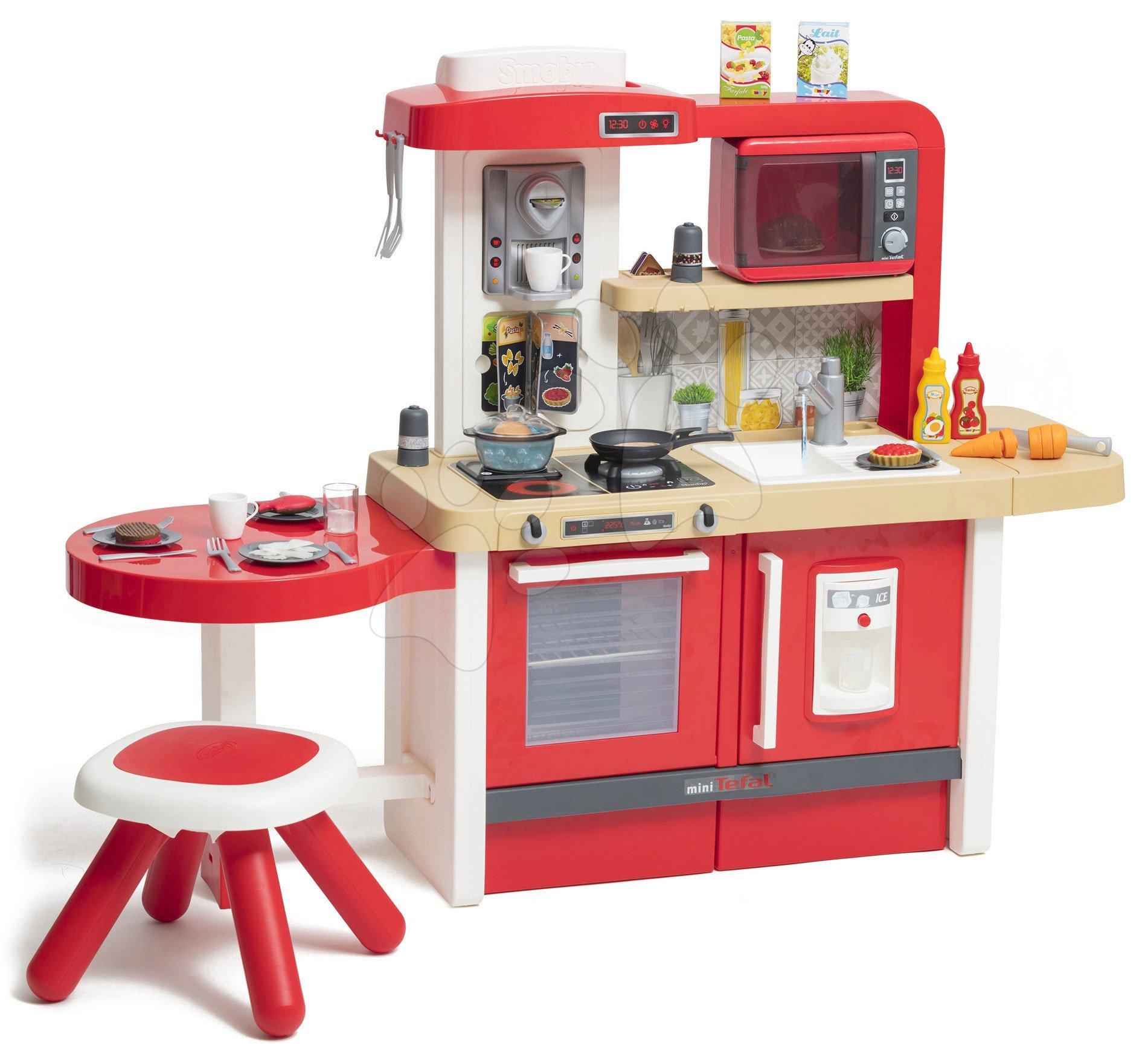 Elektronické kuchynky - Kuchynka rastúca s tečúcou vodou Tefal Evolutive Gourment Smoby s červenou mikrovlnkou so zvukom a svetlom