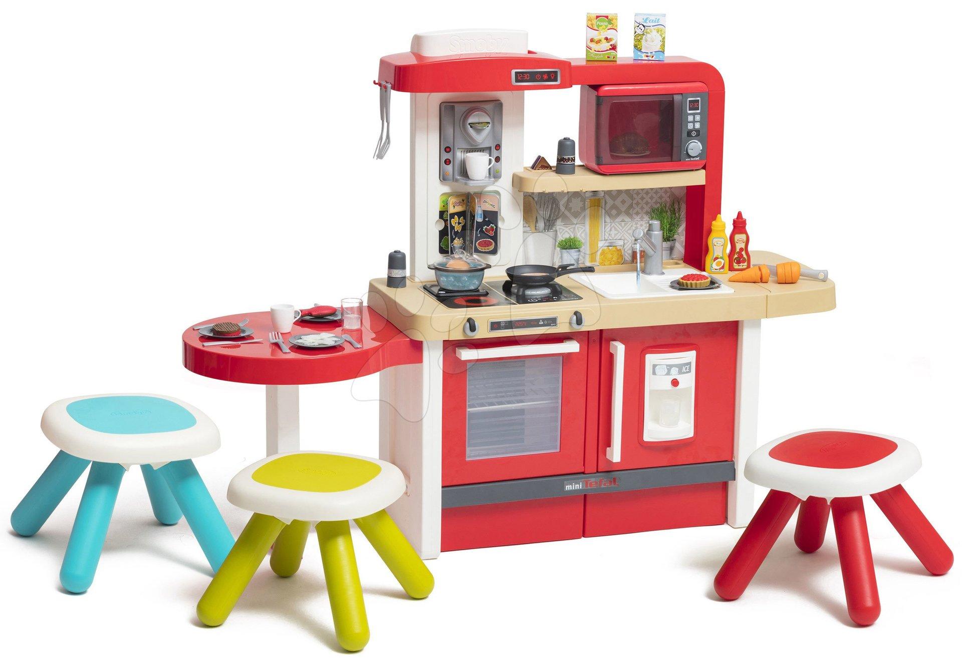Elektronické kuchynky - Kuchynka rastúca s tečúcou vodou Tefal Evolutive Gourment Smoby s mikrovlnkou a stolčekmi