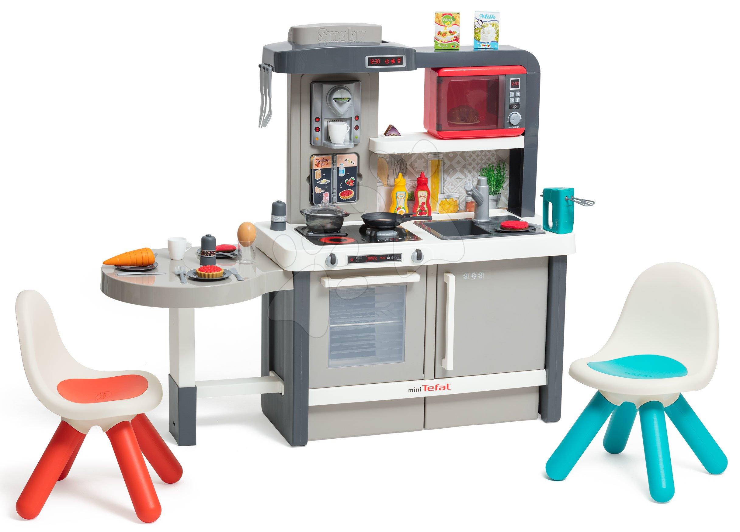 Elektronické kuchynky - Kuchynka rastúca s tečúcou vodou Tefal Evolutive Gourment Smoby so spotrebičmi a stoličkami
