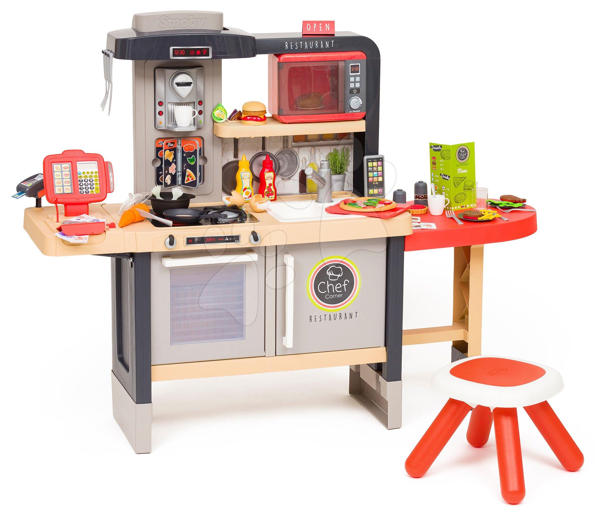 Restaurace s elektronickou kuchyňkou Chef Corner Restaurant Smoby a mikrovlnkou Tefal se zvukem a světlem