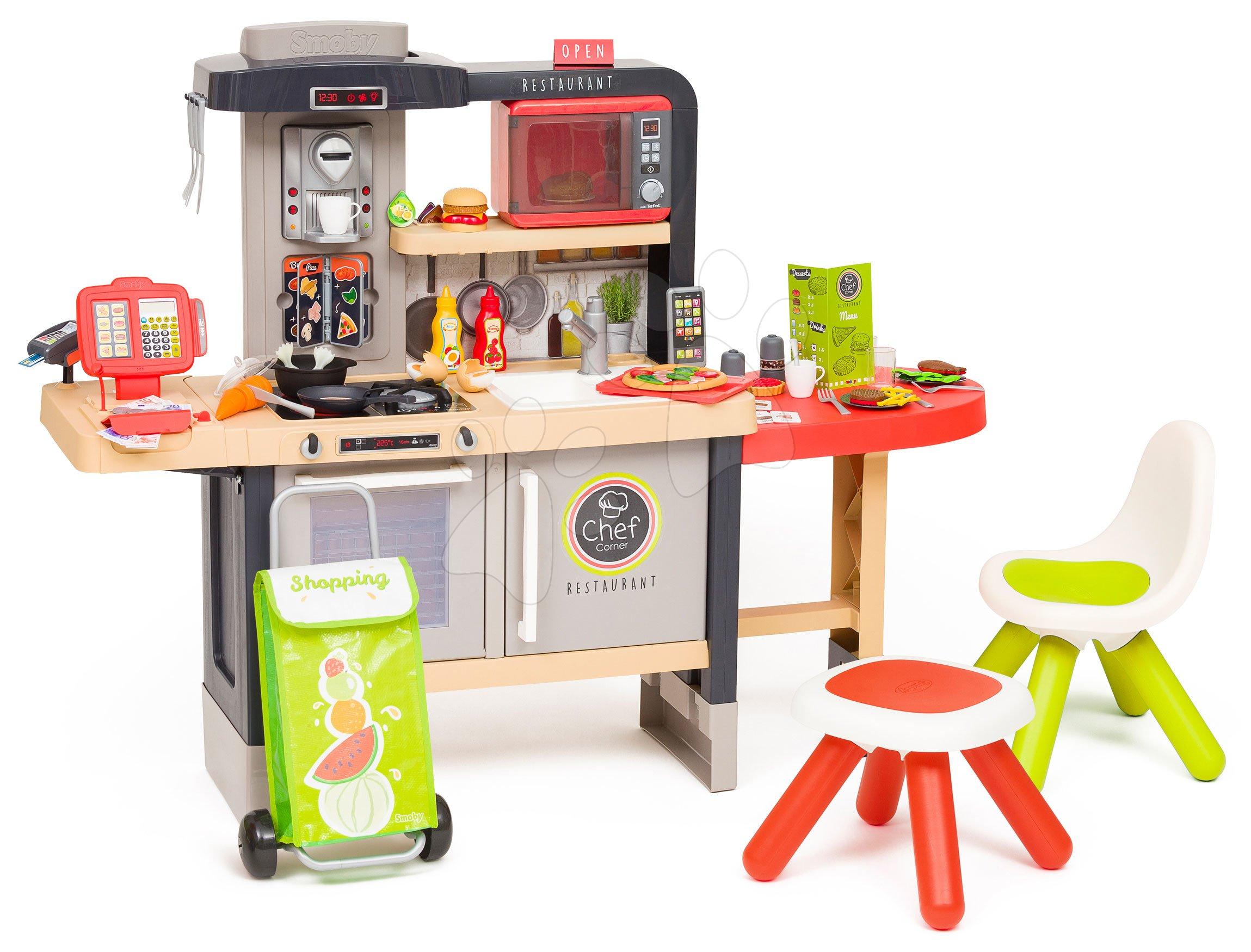 Étterem elektronikus konyhával Chef Corner Restaurant Smoby és bevásárlótáska