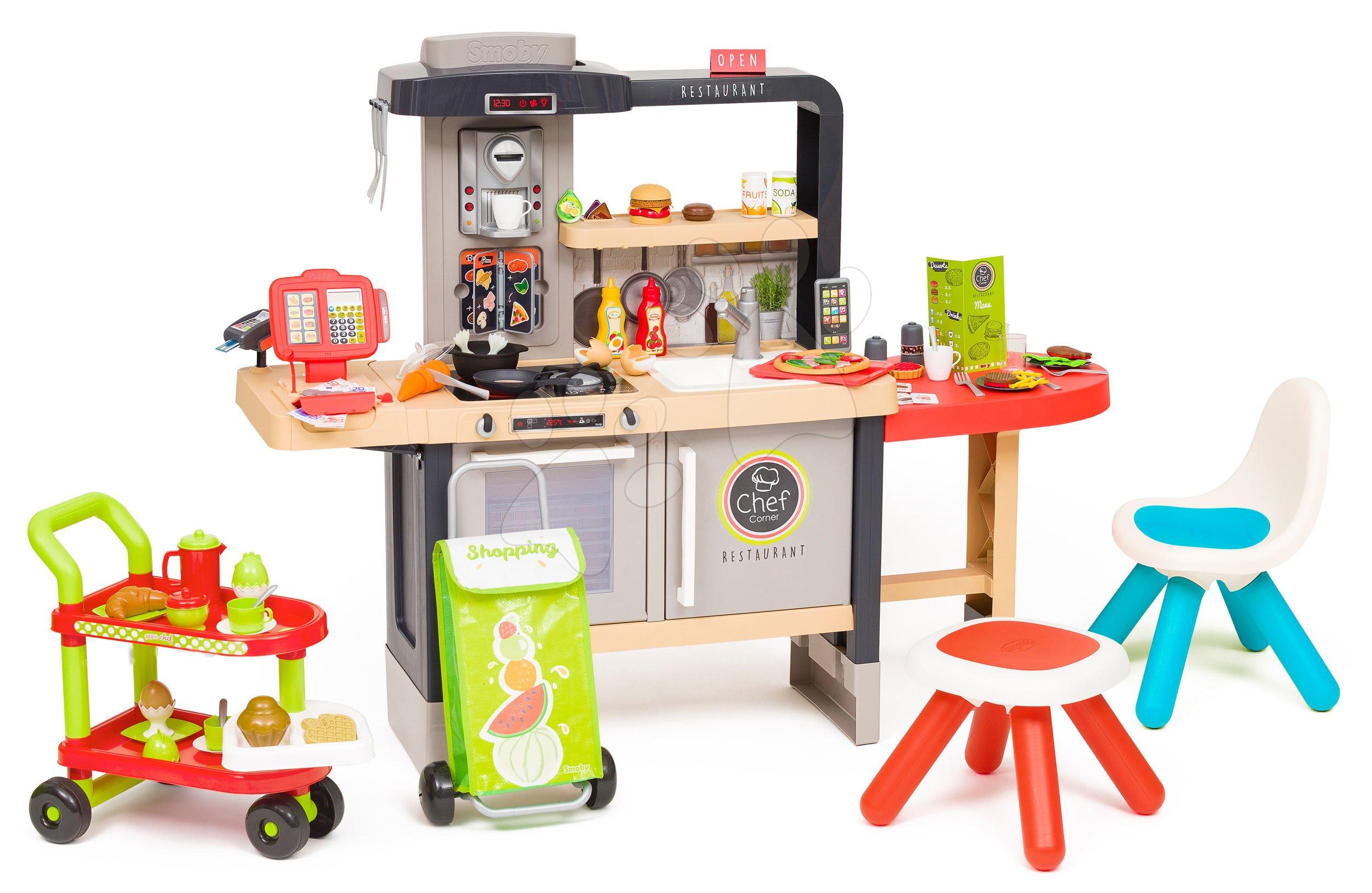 Reštaurácia s elektronickou kuchynkou Chef Corner Restaurant Smoby s raňajkami