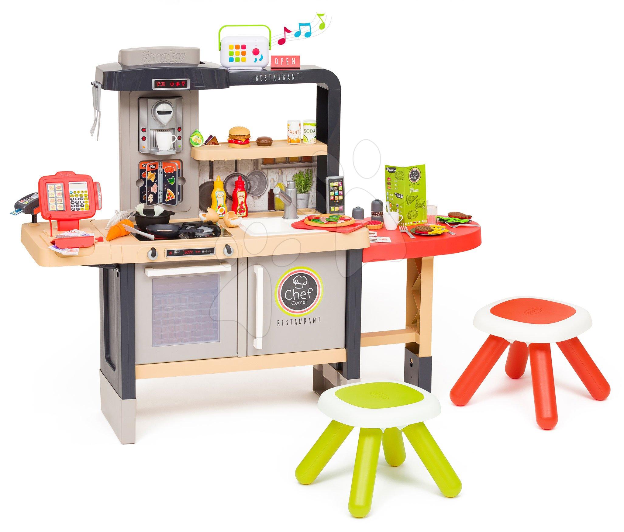 Elektronické kuchynky - Reštaurácia s elektronickou kuchynkou Chef Corner Restaurant Smoby s audio rekordérom