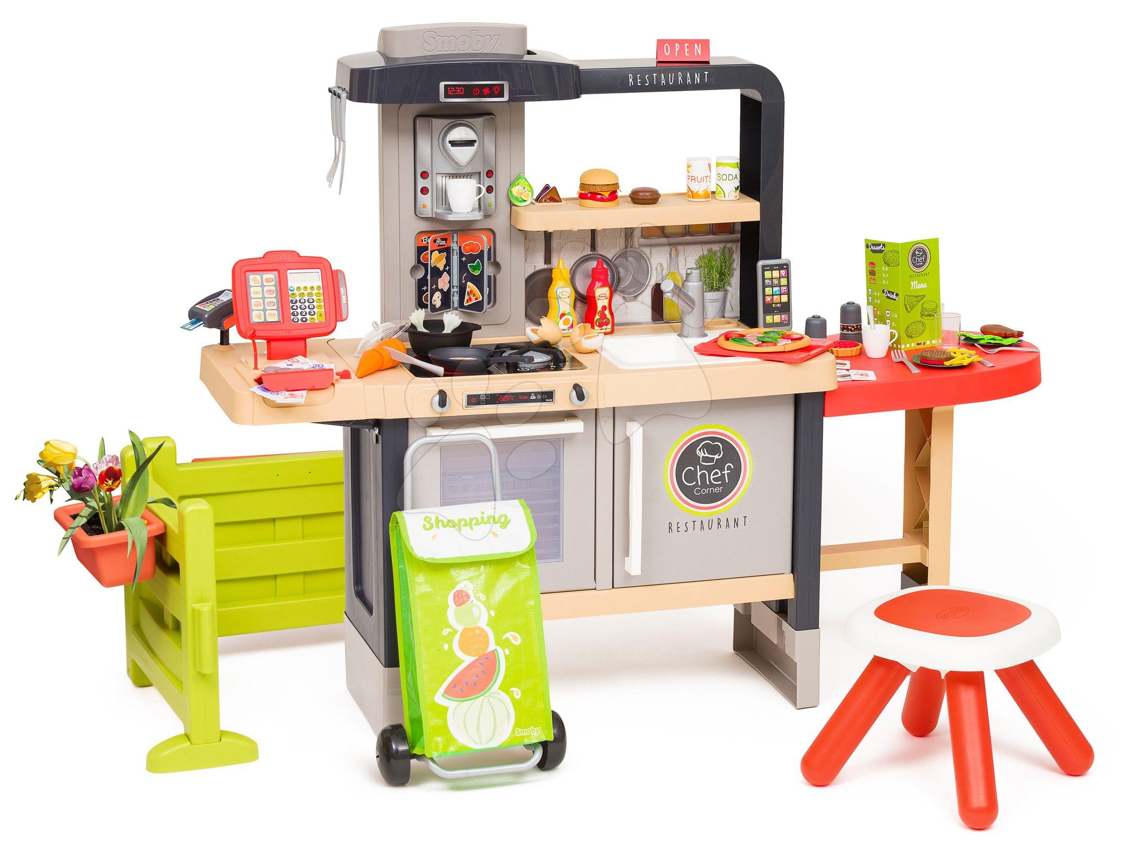 Elektronické kuchynky - Reštaurácia s elektronickou kuchynkou Chef Corner Restaurant Smoby s predzáhradkou a taškou