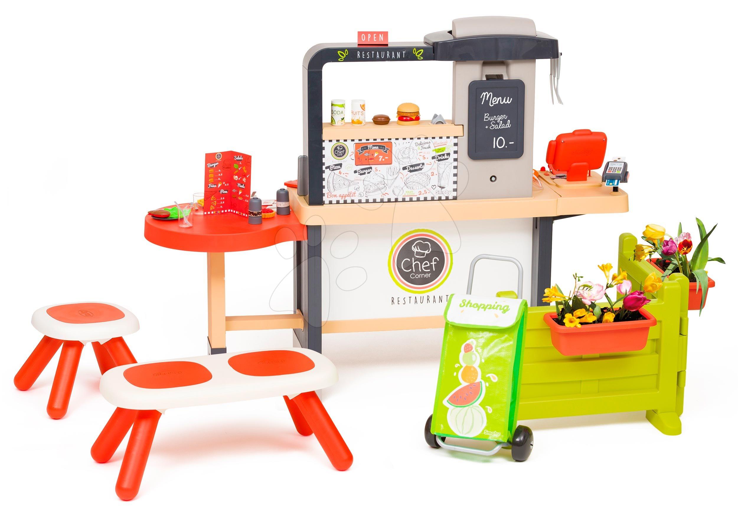 Kuchynky pre deti sety - Reštaurácia s elektronickou kuchynkou Chef Corner Restaurant Smoby s lavičkou