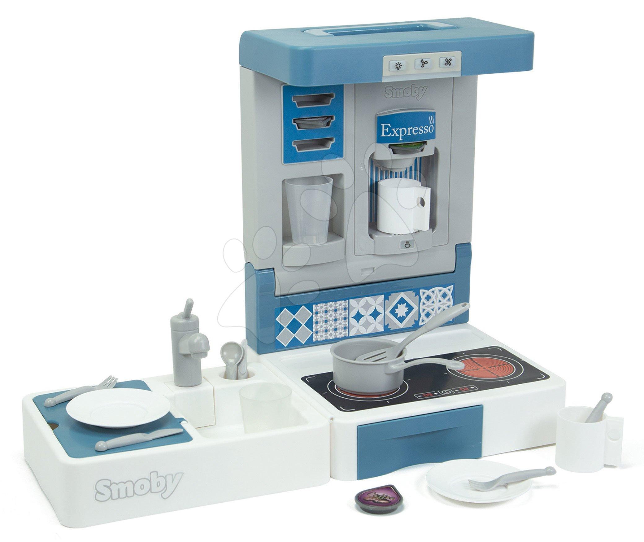 Játékkonyha utazásokhoz Cook&Go Blue Smoby összecsukható funkcióval és 17 kiegészítővel