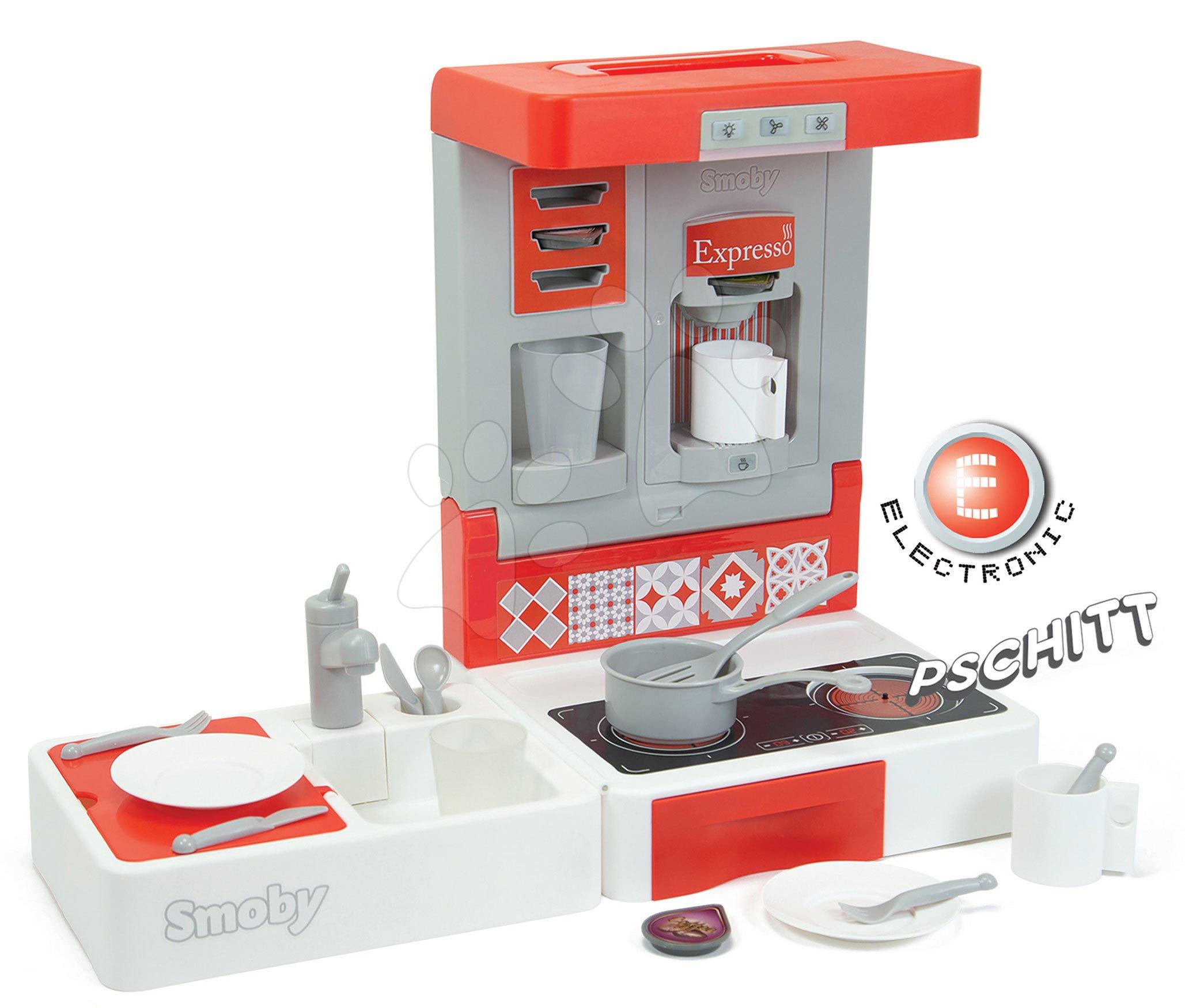 Kuchynka na cesty Cook&Go Red Smoby skladacia elektronická so zvukom funkciami a 17 doplnkov