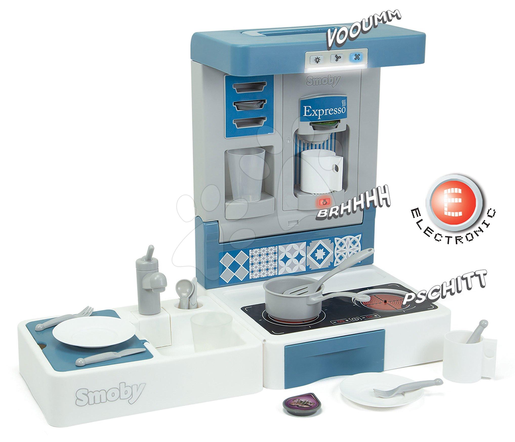 Kuchynka na cesty Cook&Go Blue Smoby skladacia elektronická so zvukom a svetlom a 17 doplnkov