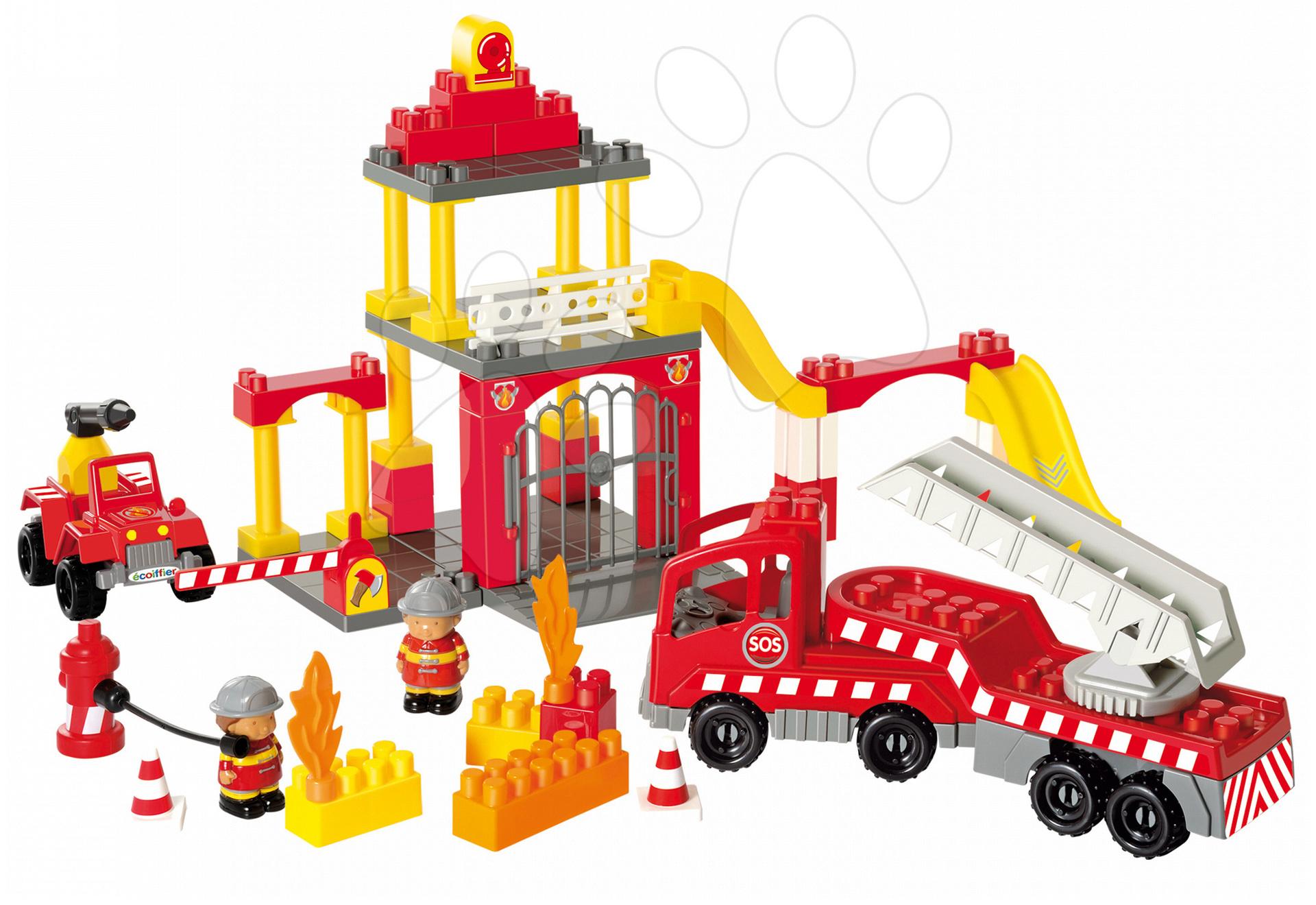 Stavebnice Abrick - požární stanice s hasičskými auty Écoiffier s 2 figurkami 69 dílů od 18 měsíců