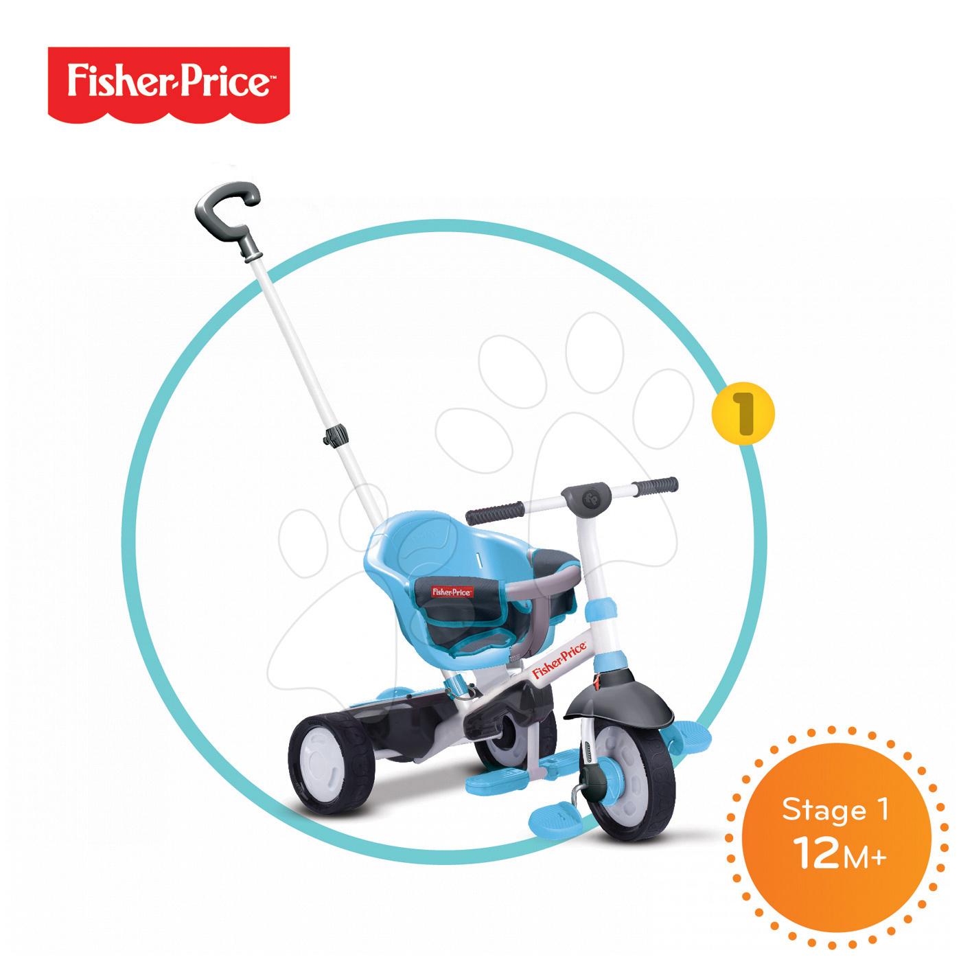 Trojkolky od 10 mesiacov - Trojkolka Fisher-Price Charm Touch Steering smarTrike modrá od 12 mes