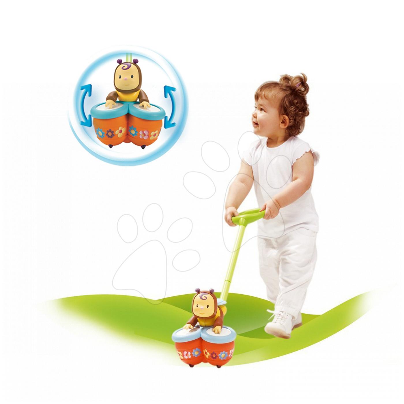 Húzható játékok - Tologatós doboló figura Zoom Push Cotoons Smoby 12 hó-tól