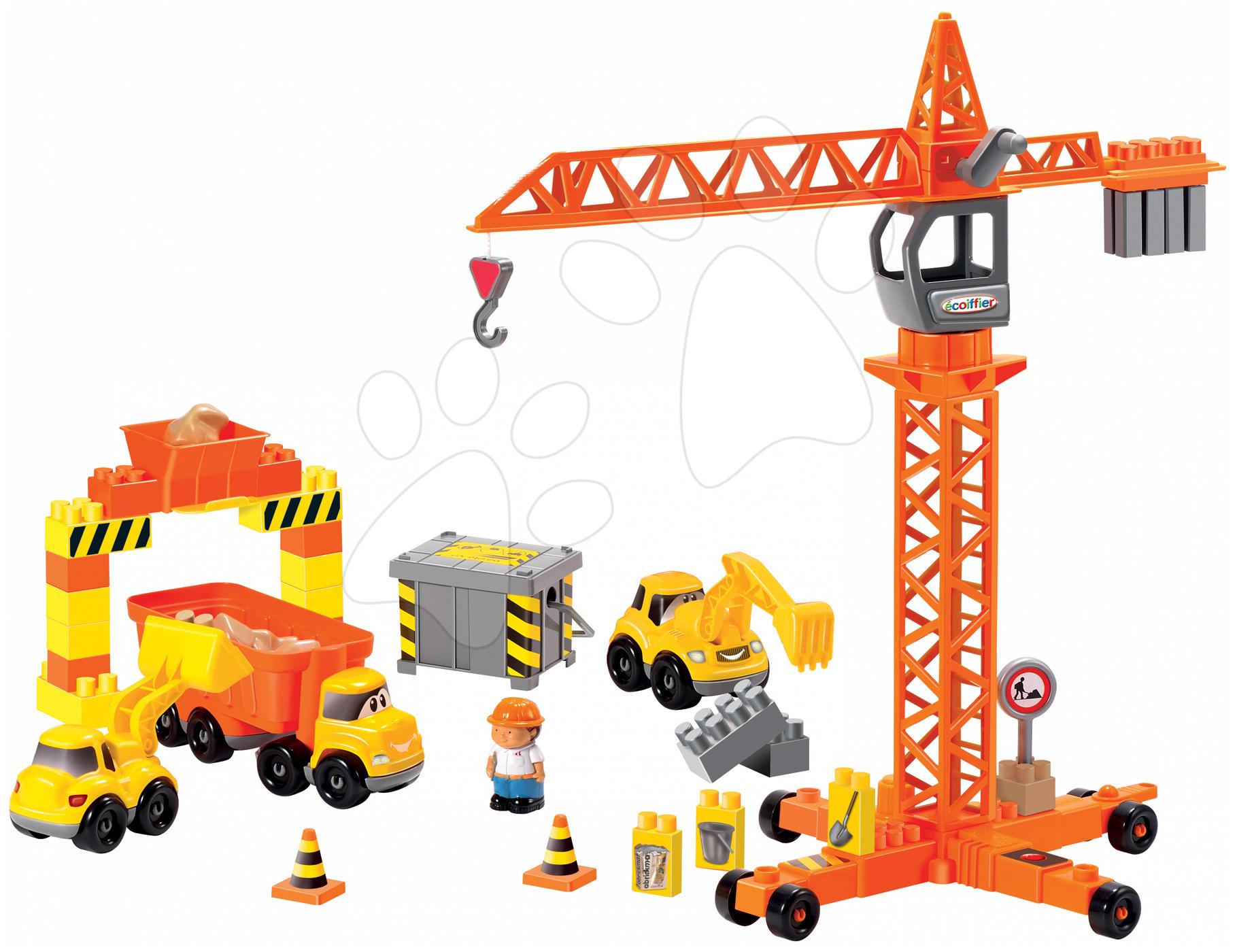 Stavebnice Stavbaři na stavbě Abrick Écoiffier s jeřábem a 3 pracovními stroji