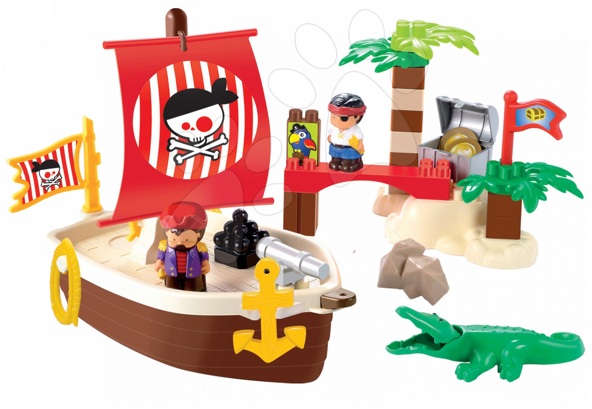 Stavebnice Pirátská loď s ostrovem Abrick Écoiffier s krokodýlem a 2 piráty 34 dílů od 18 měsíců