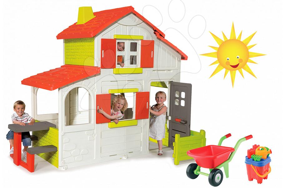Domčeky sety - Set domček Maison Duplex Smoby poschodový a fúrik s doplnkami