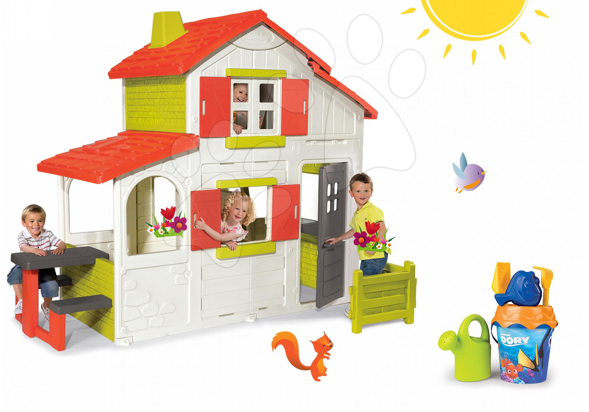 Domčeky pre deti - Set domček Duplex Smoby poschodový s predzáhradkou a vedro set Dory