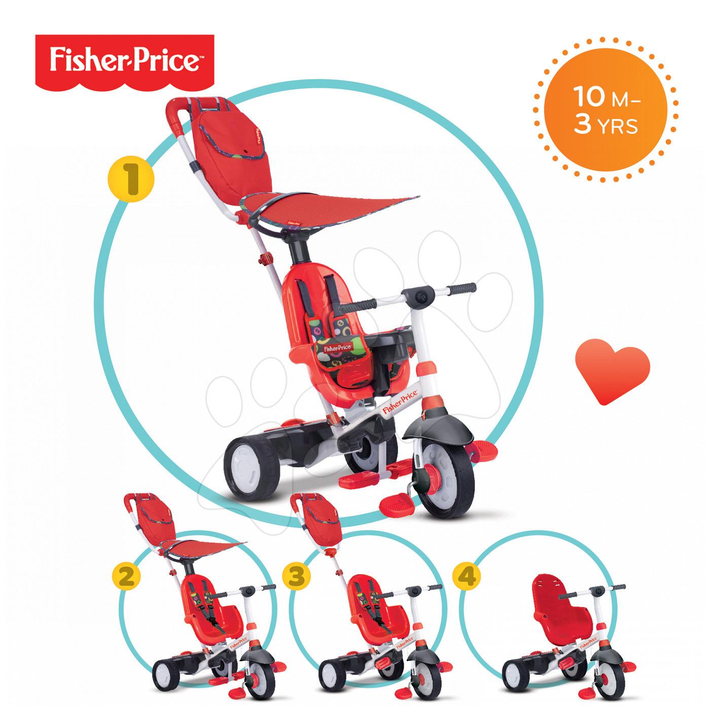 Trojkolky od 10 mesiacov - Trojkolka Fisher-Price Charisma Touch Steering smarTrike červená od 10 mes