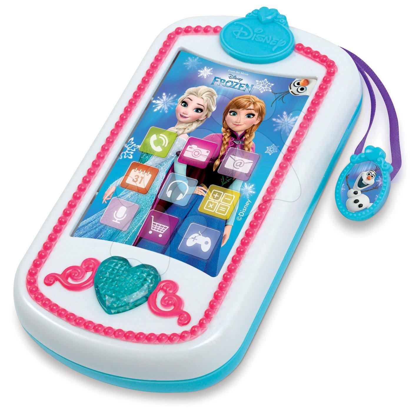 Detské hudobné nástroje - Smartphone Frozen Smoby zvukový mobilný telefón so svetlom a trblietkami