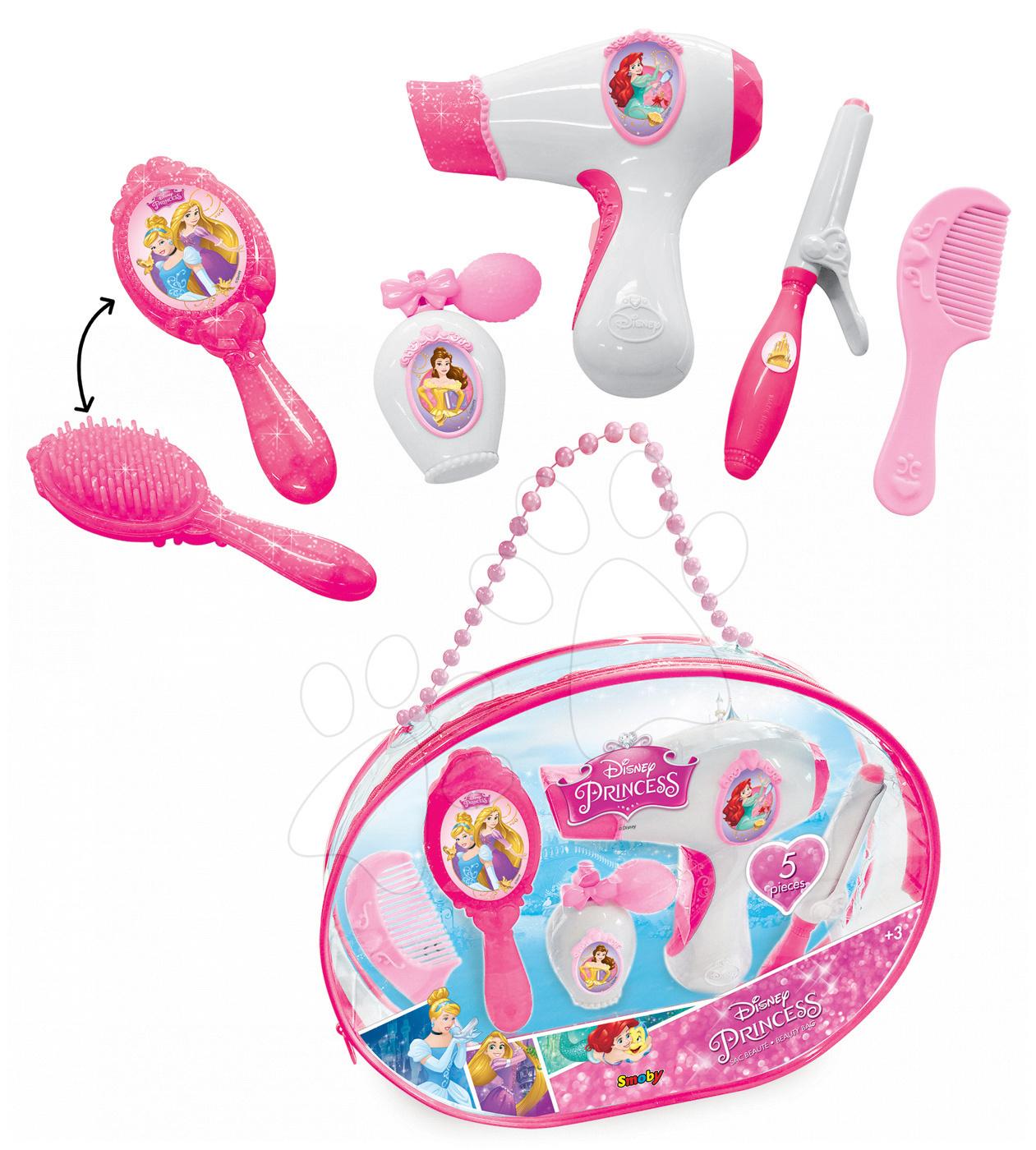 Kozmetická taštička pre dievčatká Princezné Disney Smoby ružové s trblietkami