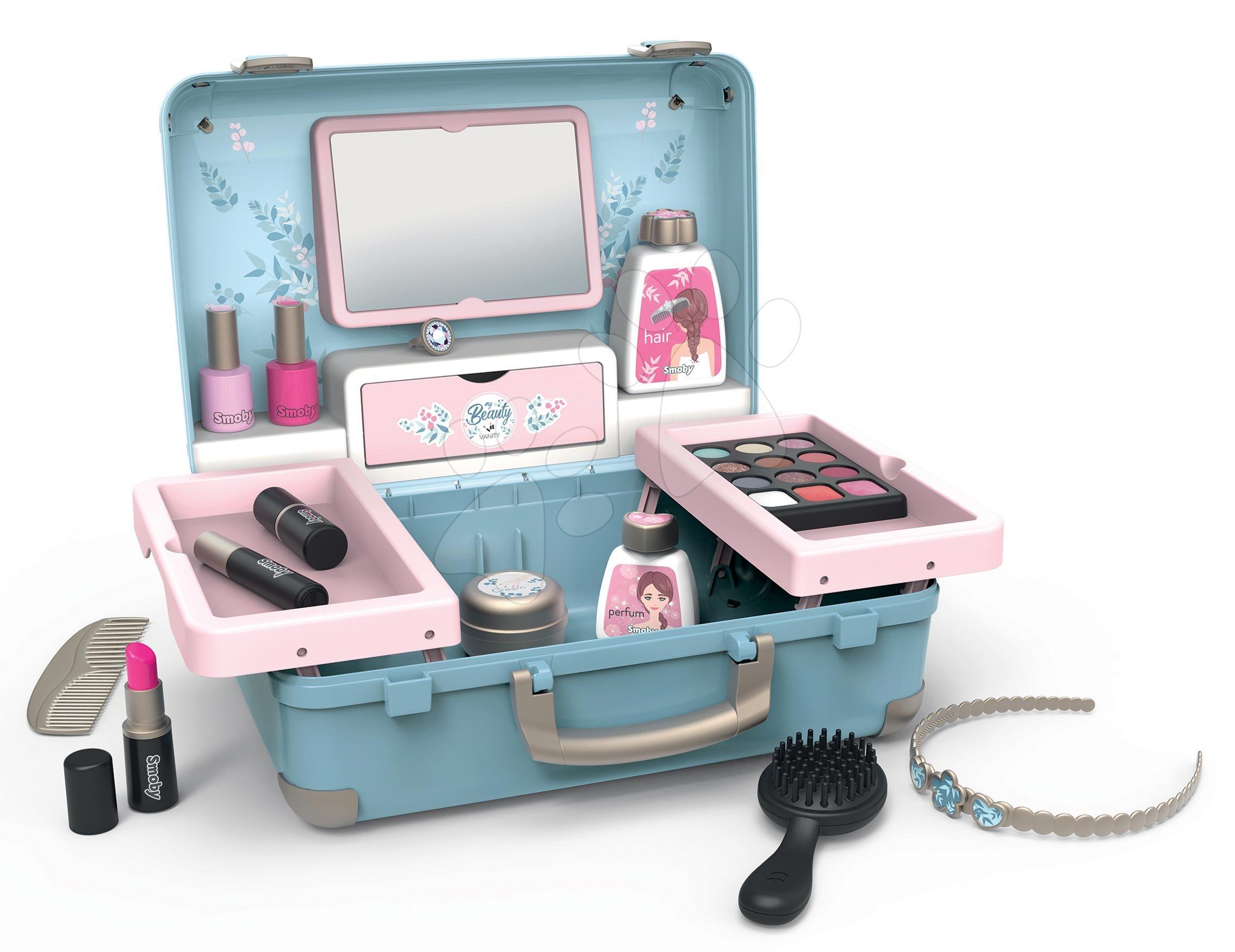 Kosmetický kufřík My Beauty Vanity 3in1 Smoby kadeřnictví a kosmetika s nehtovým studiem s 13 doplňky