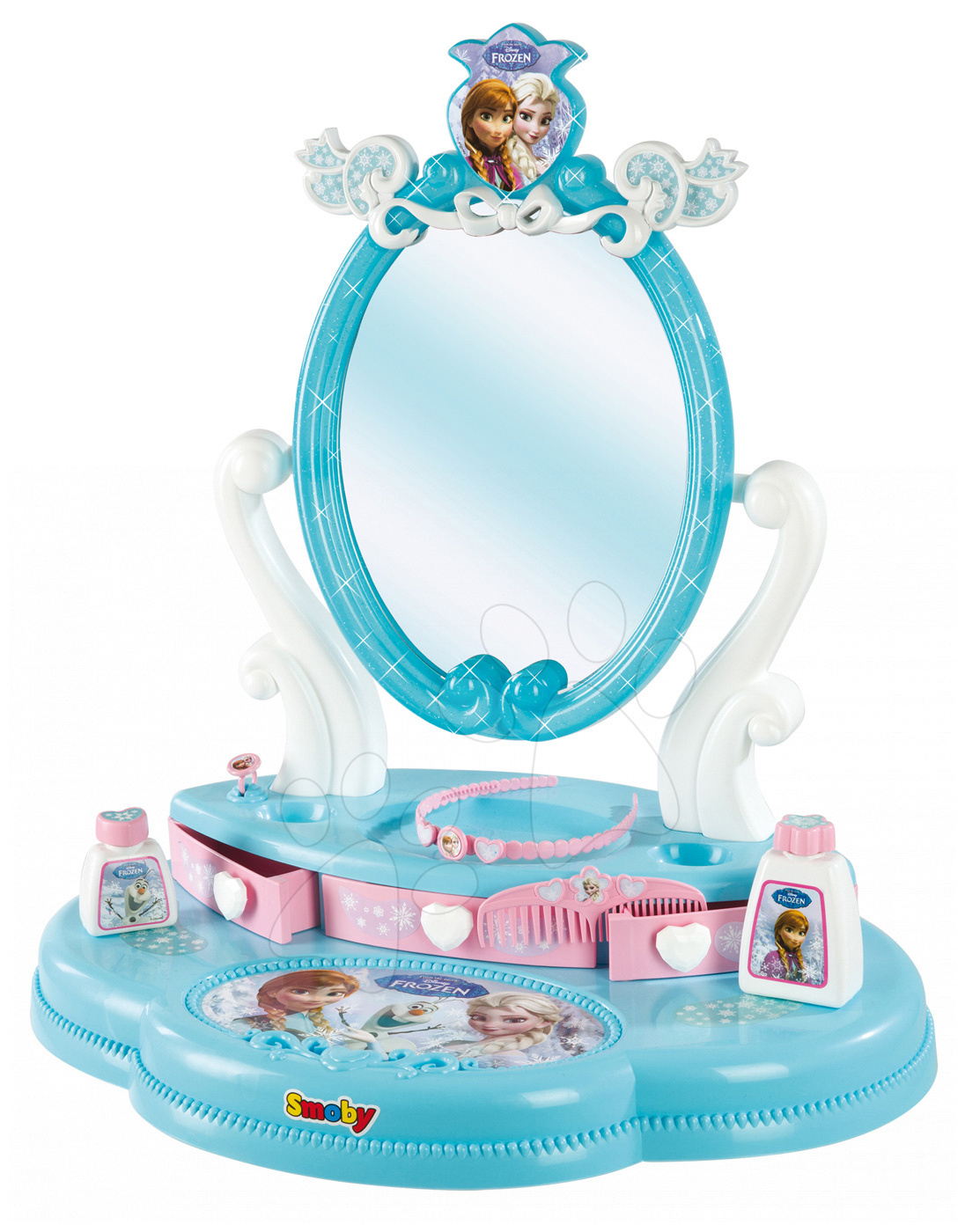 Kosmetický stolek Frozen Smoby s otevíracími zásuvkami a doplňky modrý