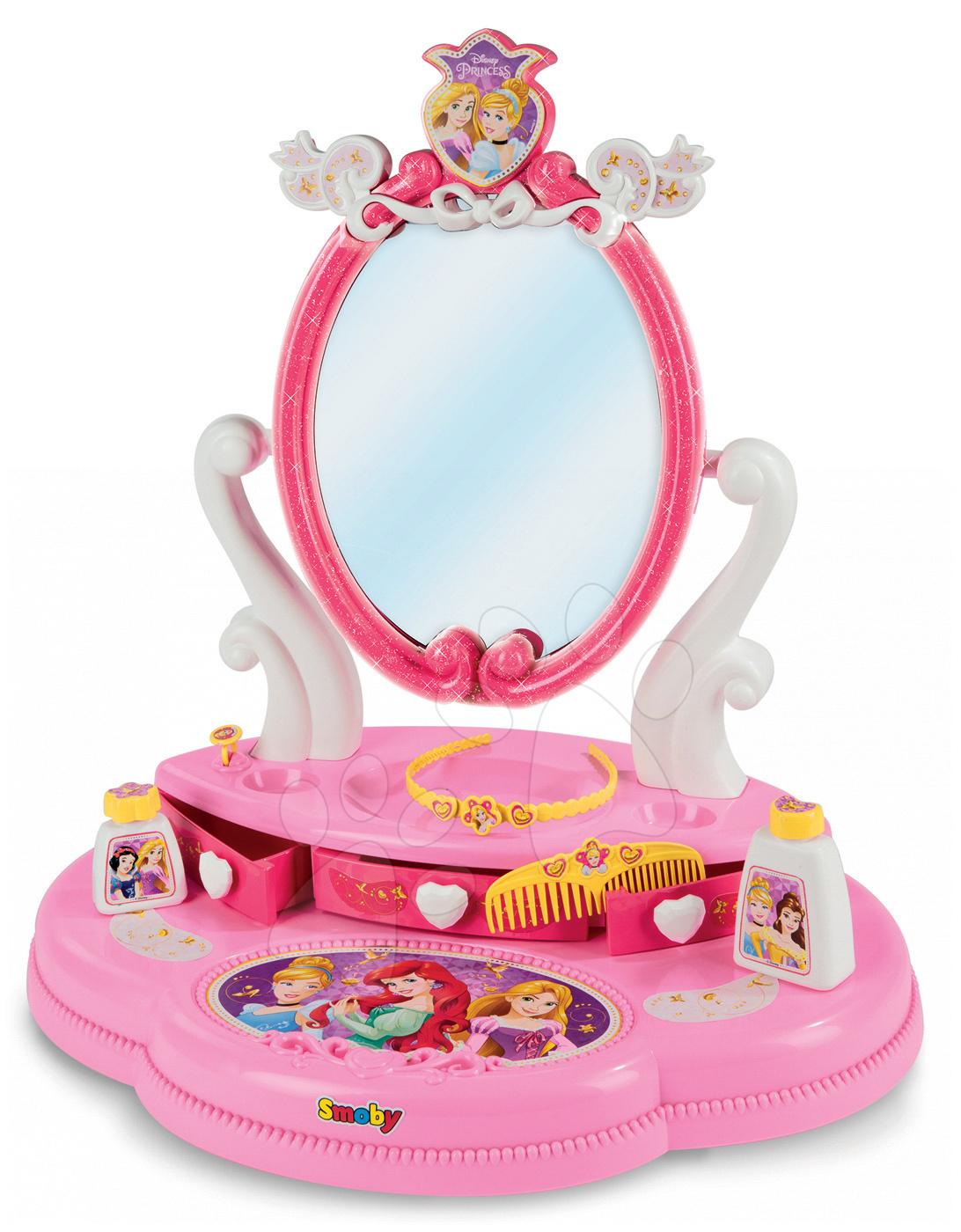 Detský kozmetický stolík Disney Princezné s 5 doplnkami 320211 ružový