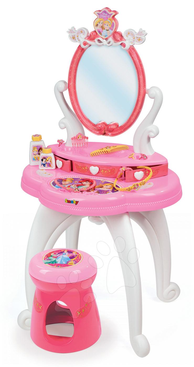 Kozmetický stolík pre deti - Kozmetický stolík Disney Princezné Smoby 2v1 so stoličkou a 10 doplnkami ružový