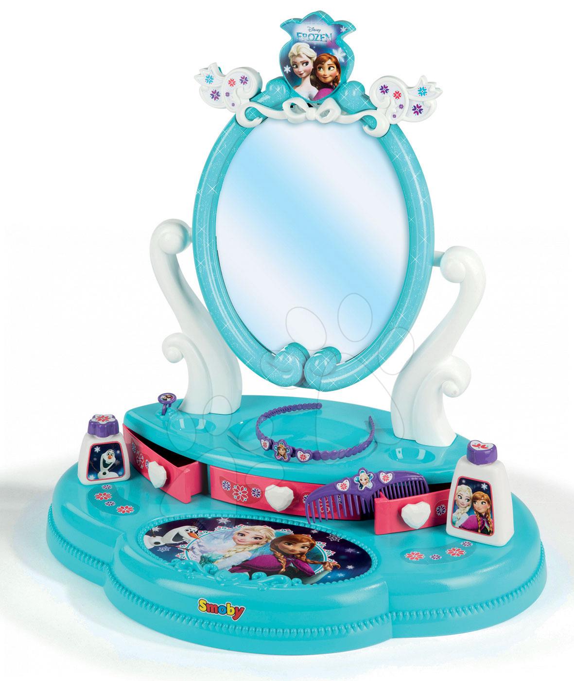 Kozmetický stolík Disney Top Frozen Smoby s 5 doplnkami akvamarínový