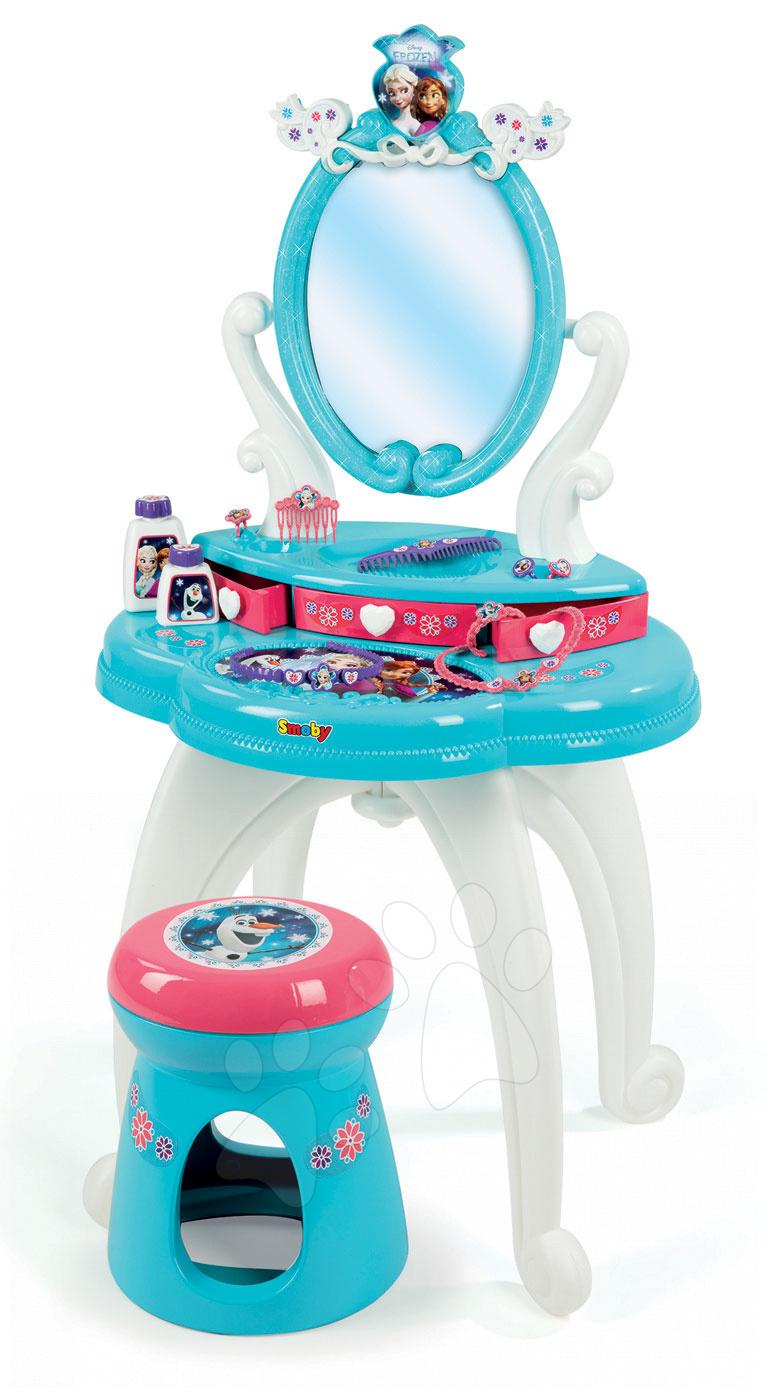 Kozmetický stolík Disney Frozen Smoby 2v1 so stoličkou, trblietkami a 10 doplnkami akvamarínový
