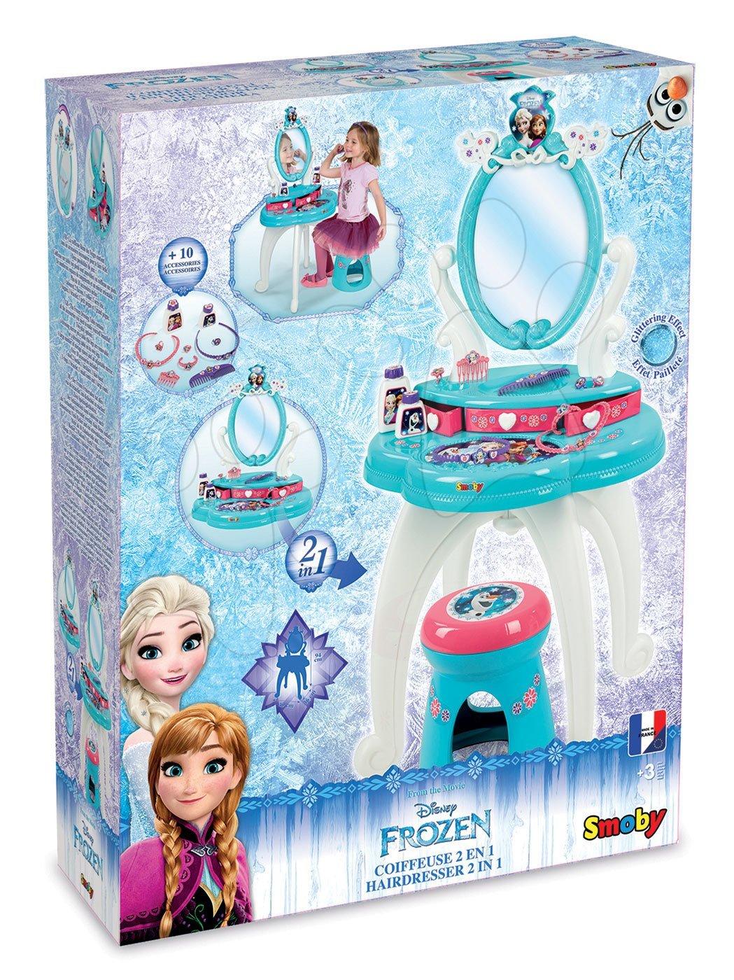 8c67ab5b514b Detský kozmetický stolík Disney Frozen Smoby 2v1 so stoličkou a 10  doplnkami 320214 akvamarínový