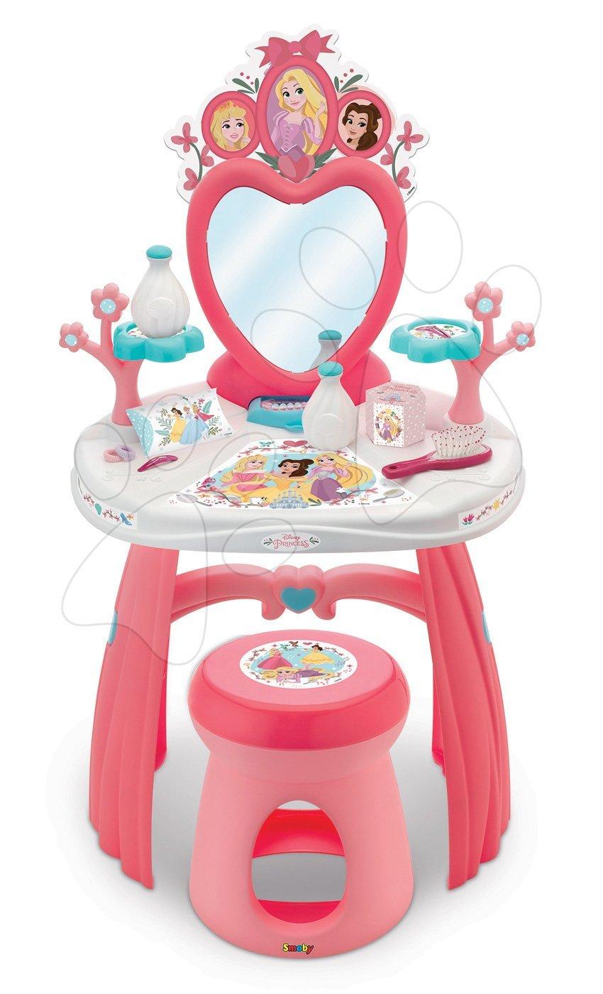 Kozmetický stolík Princezné Smoby so stoličkou a 10 doplnkami