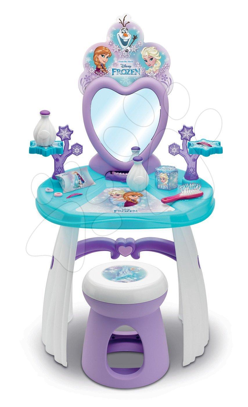 Kozmetický stolík Frozen Smoby so stoličkou a snehovými vločkami 10 doplnkov