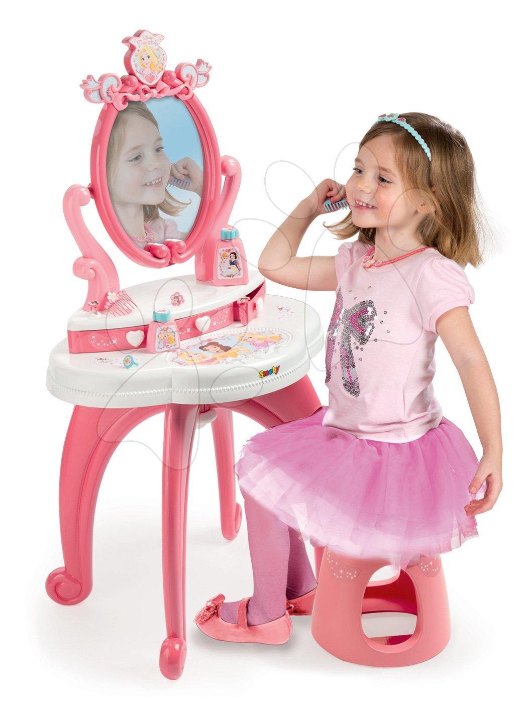 Kozmetický stolík Princezné 2v1 Smoby so stoličkou a 10 doplnkov