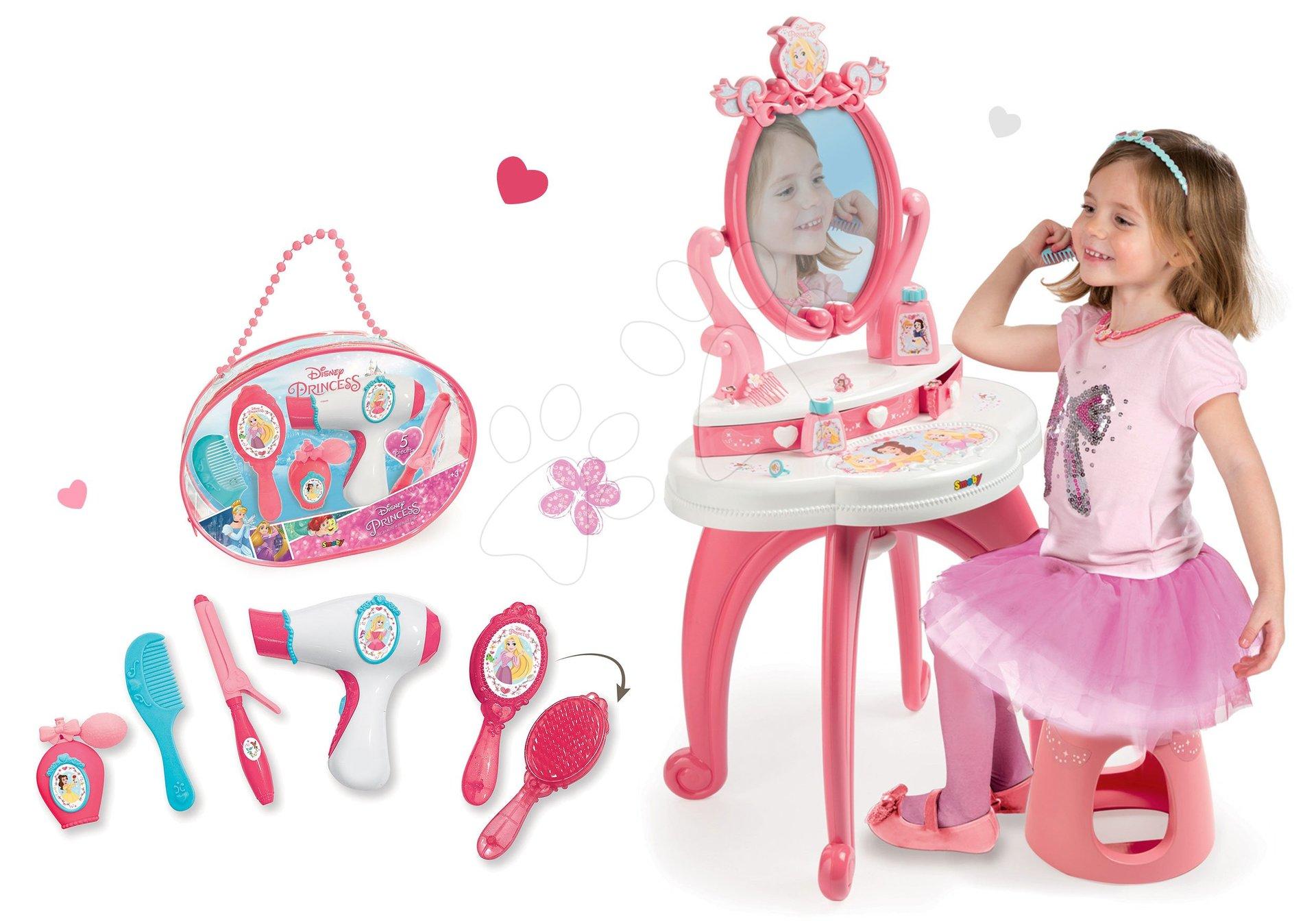 Set kozmetický stolík 2v1 Princezné Smoby stolička a kozmetická taštička s trblietkami