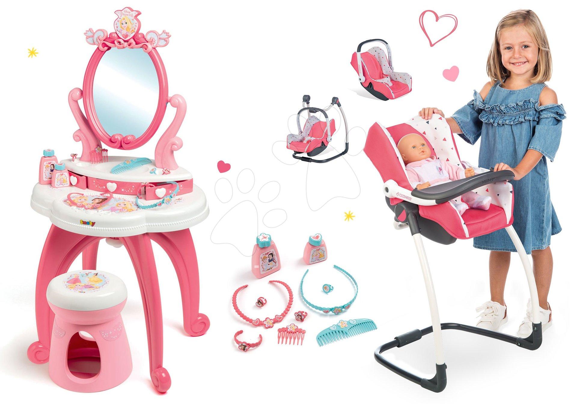 Set kozmetický stolík 2v1 Princezné Smoby a stolička, autosedačka a hojdačka Maxi Cosi