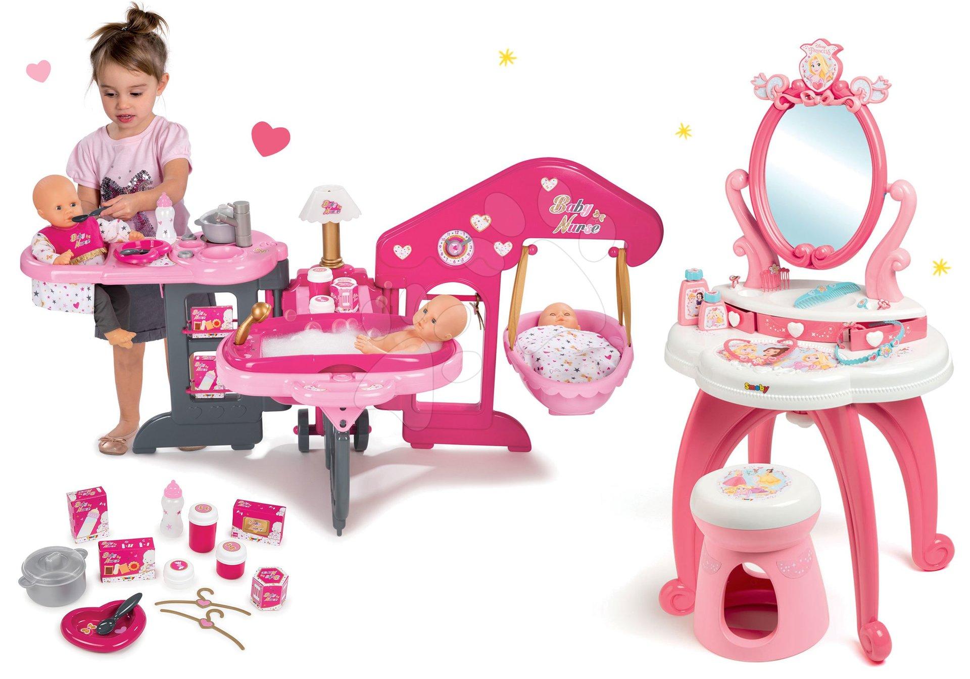 Set kozmetický stolík 2v1 Princezné Smoby a domček pre bábiku trojkrídlový