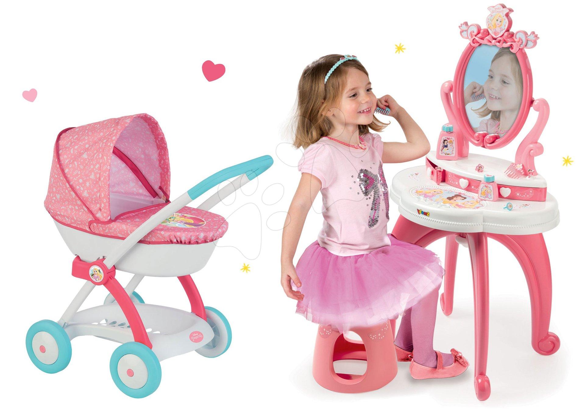 Set kozmetický stolík 2v1 Princezné Smoby a kočík pre bábiku hlboký