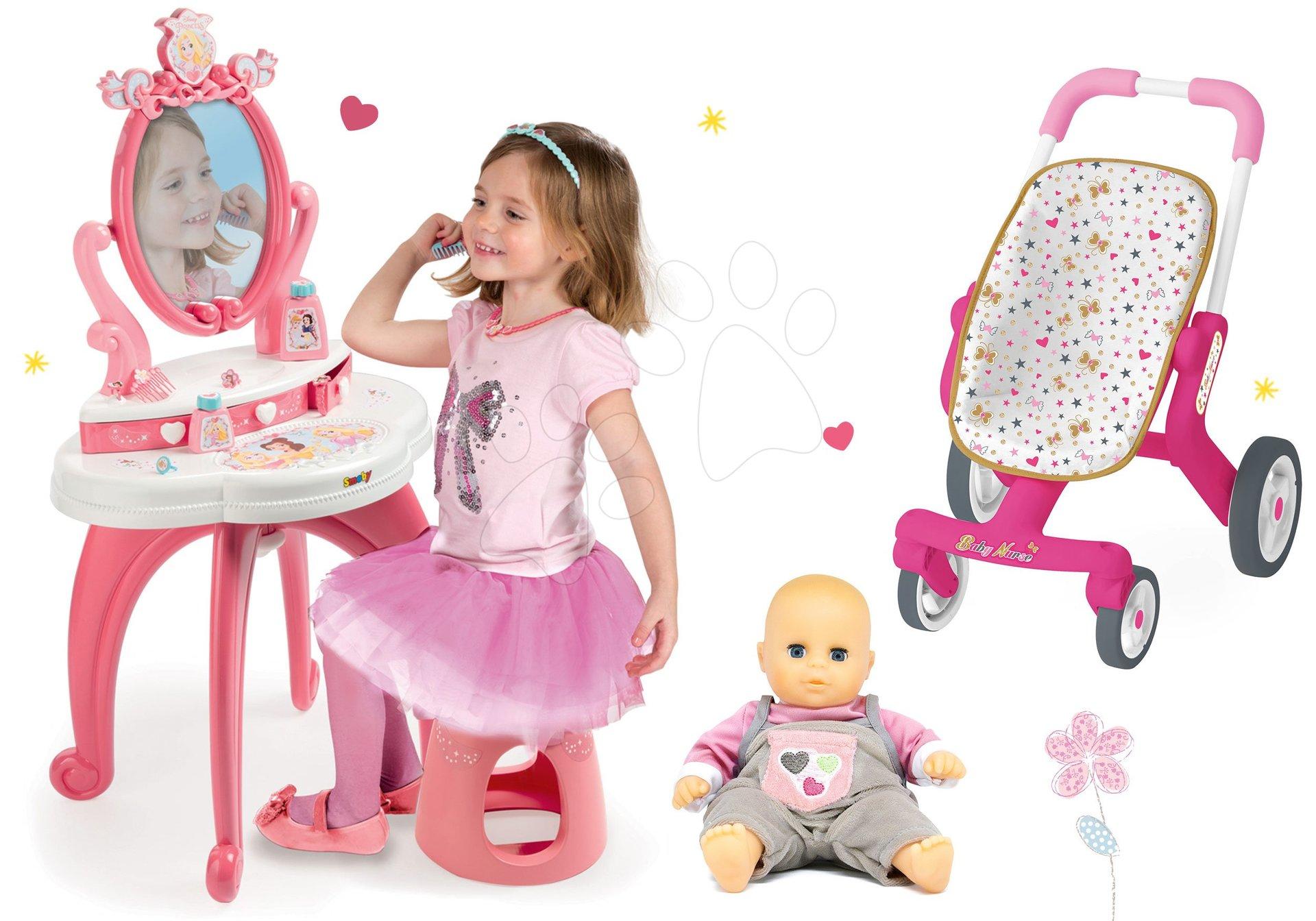 Set kozmetický stolík 2v1 Princezné Smoby a kočík s otočnými kolieskami a bábika