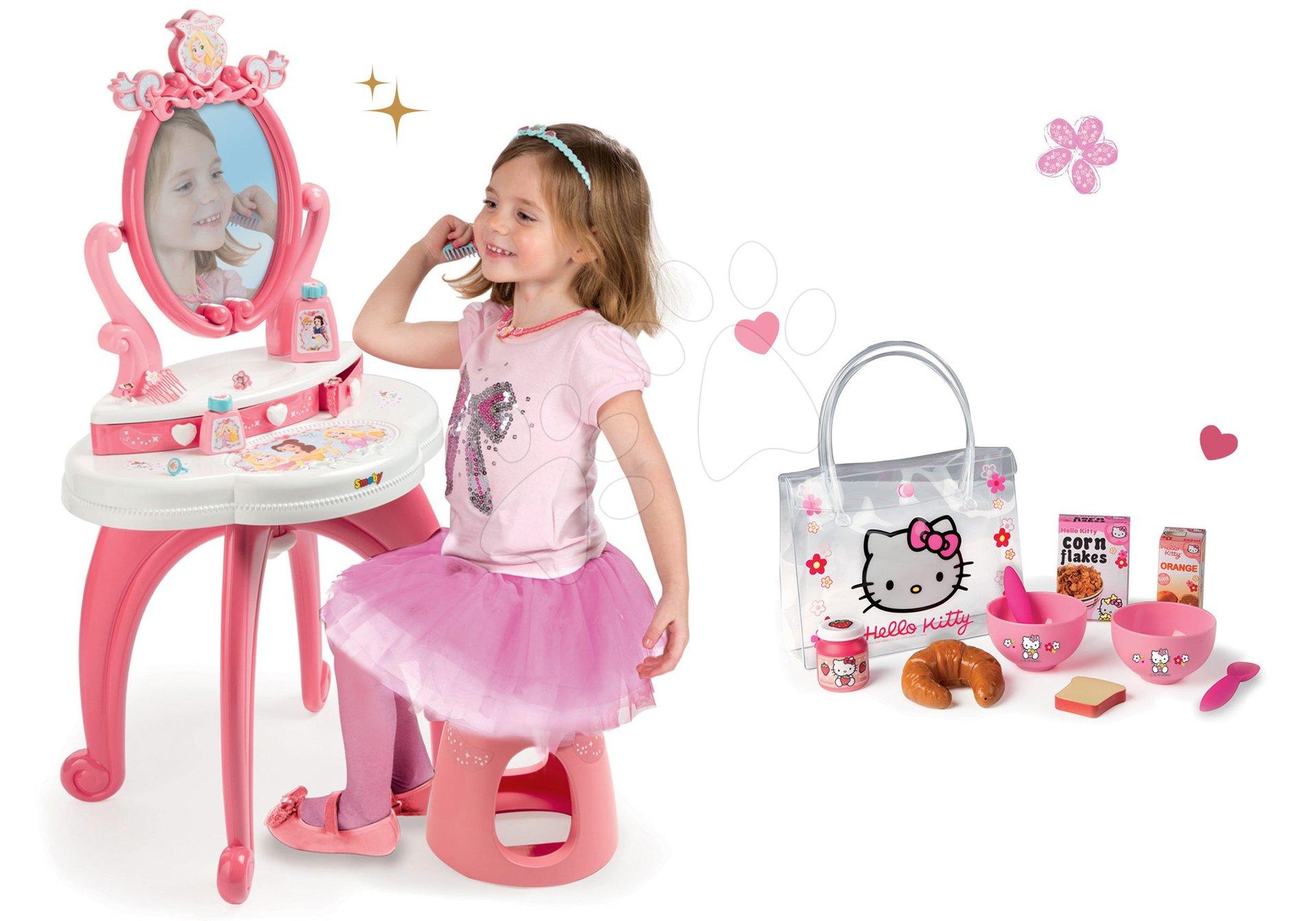 Set kozmetický stolík 2v1 Princezné Smoby a raňajkový set v taštičke
