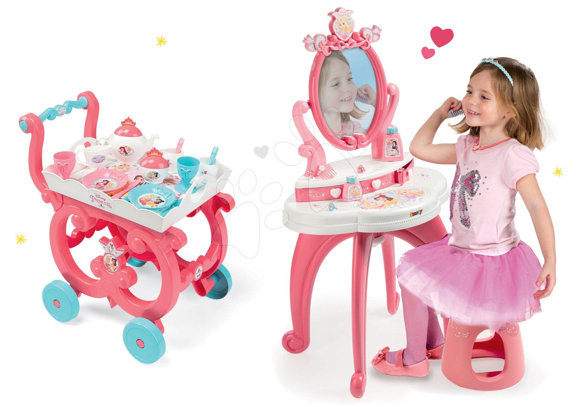 Set kozmetický stolík 2v1 Princezné Smoby a servírovací vozík s čajovou súpravou