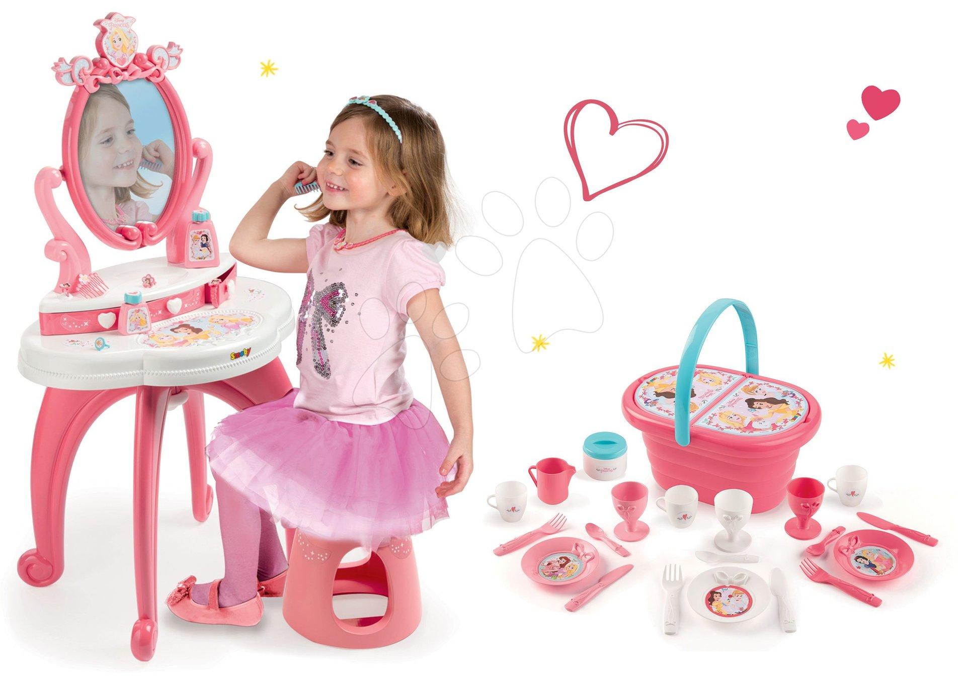 Set kozmetický stolík 2v1 Princezné Smoby a obedová súprava v košíku