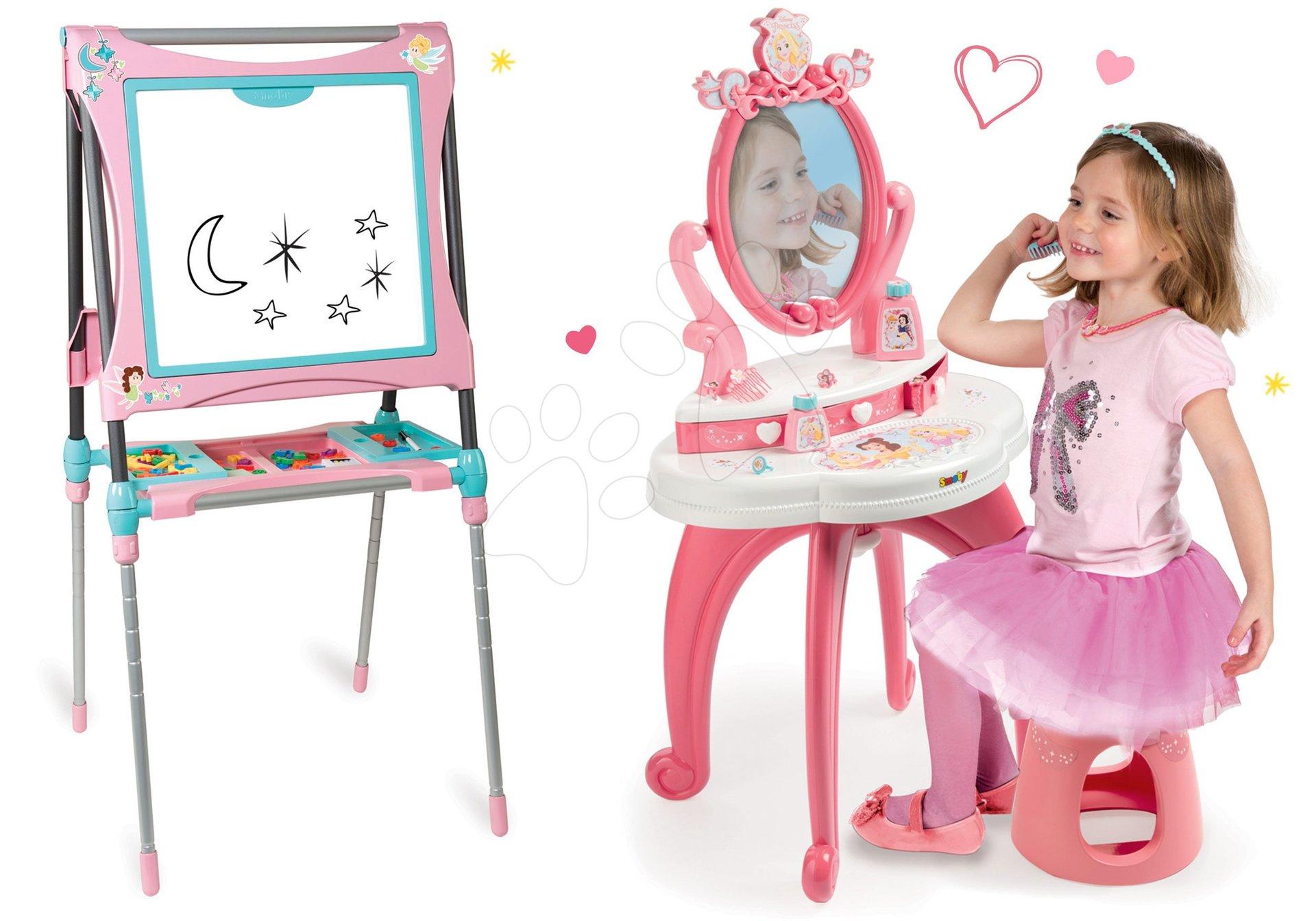 Set kozmetický stolík 2v1 Princezné Smoby a magnetická tabuľa polohovateľná
