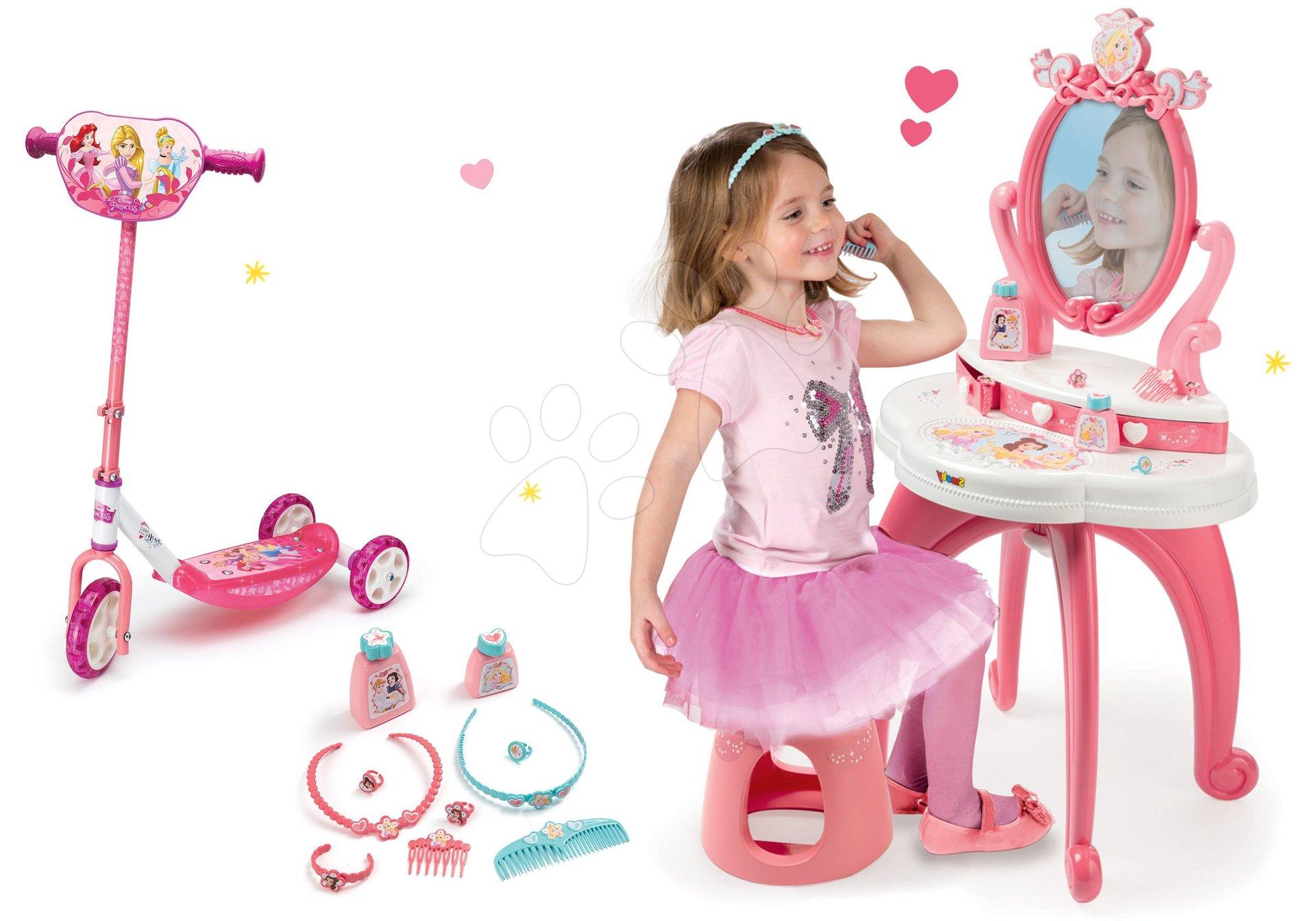 Set kozmetický stolík 2v1 Princezné Smoby a trojkolesová kolobežka