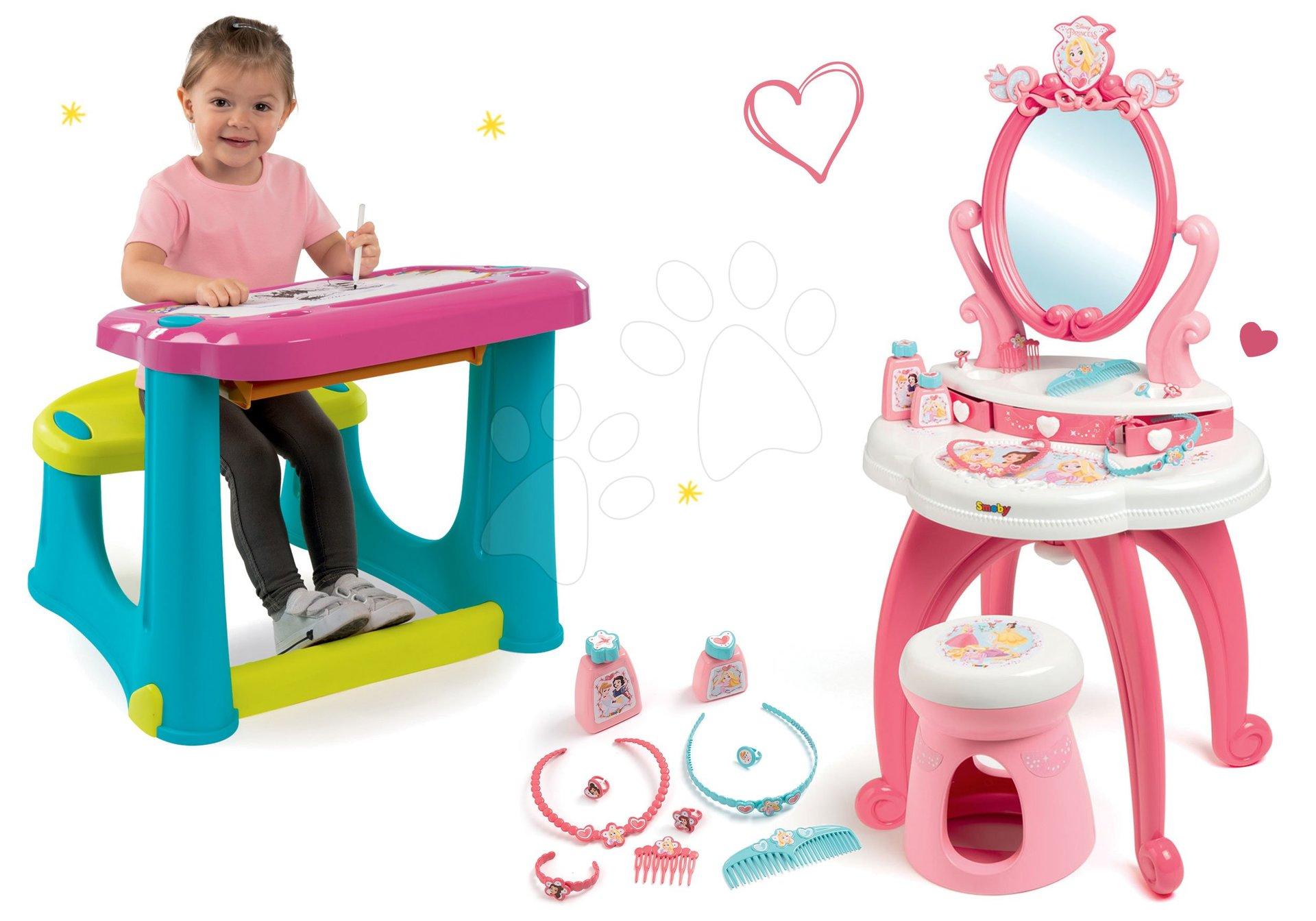 Set kozmetický stolík 2v1 Princezné Smoby a lavica na kreslenie Magic Desk Kresli a zmaž