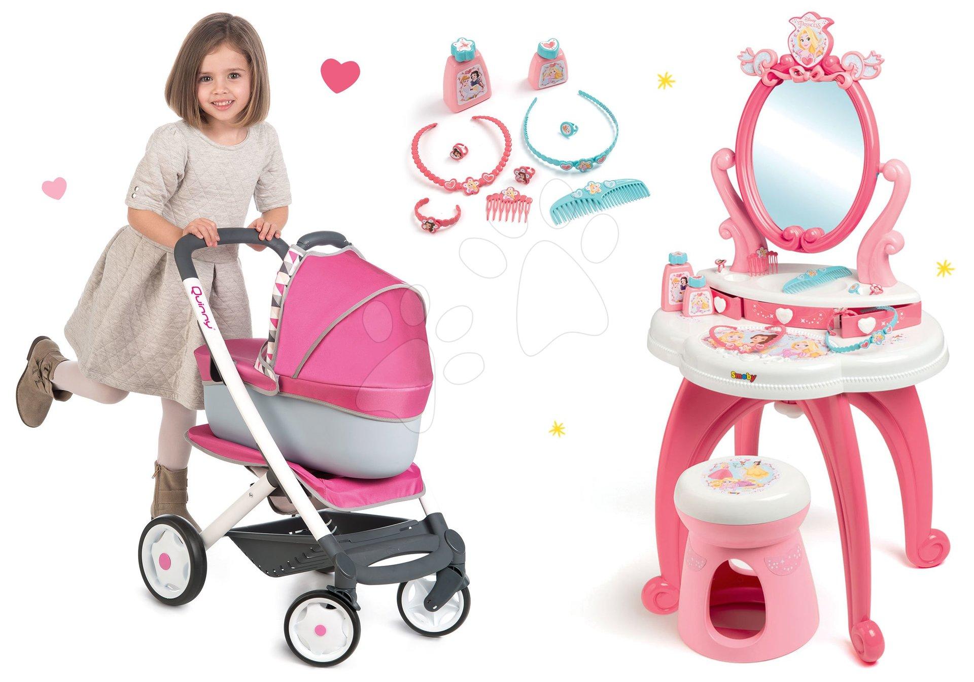 Set kozmetický stolík 2v1 Princezné Smoby a kočík 3v1 Maxi Cosi&Quinny s nosítkom